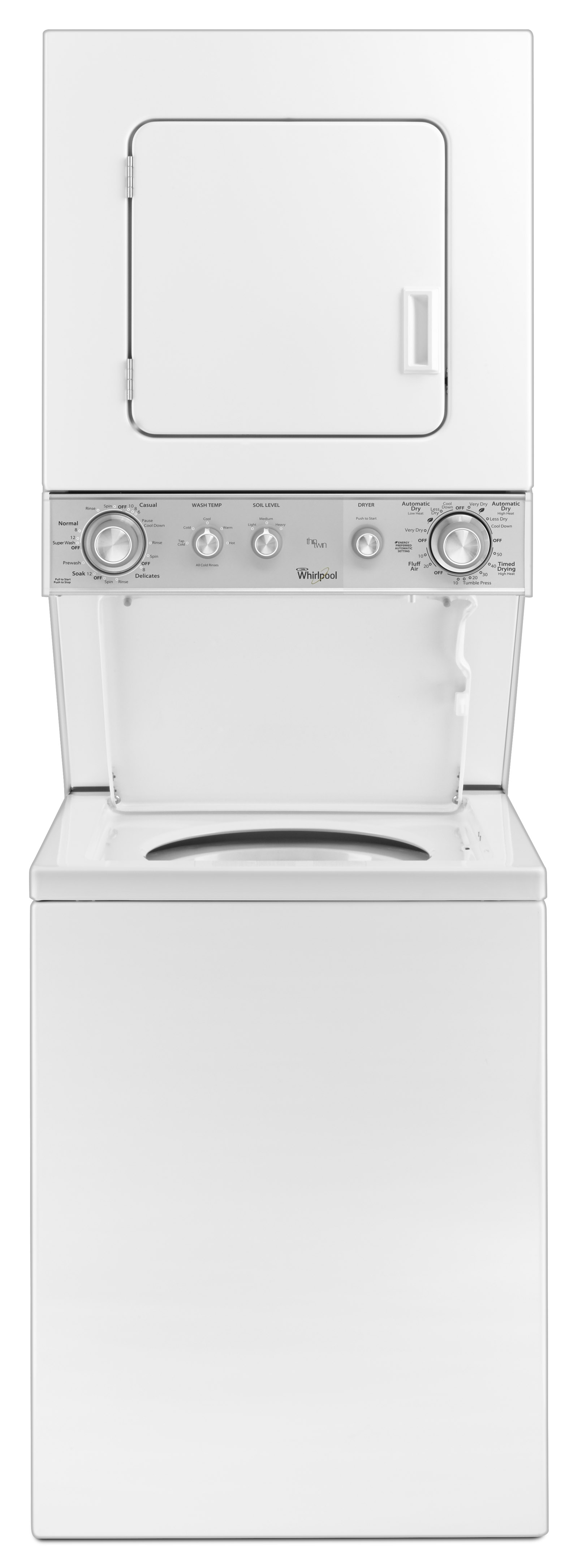 """Whirlpool WET4024EW 24"""" Full-Size Electric Stacked Laundry Unit - White"""