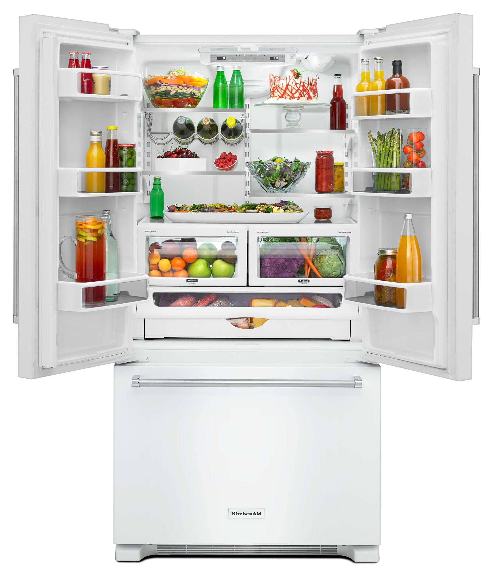 KitchenAid KRFC302EWH 22 cu. ft. Counter-Depth French Door Refrigerator - White