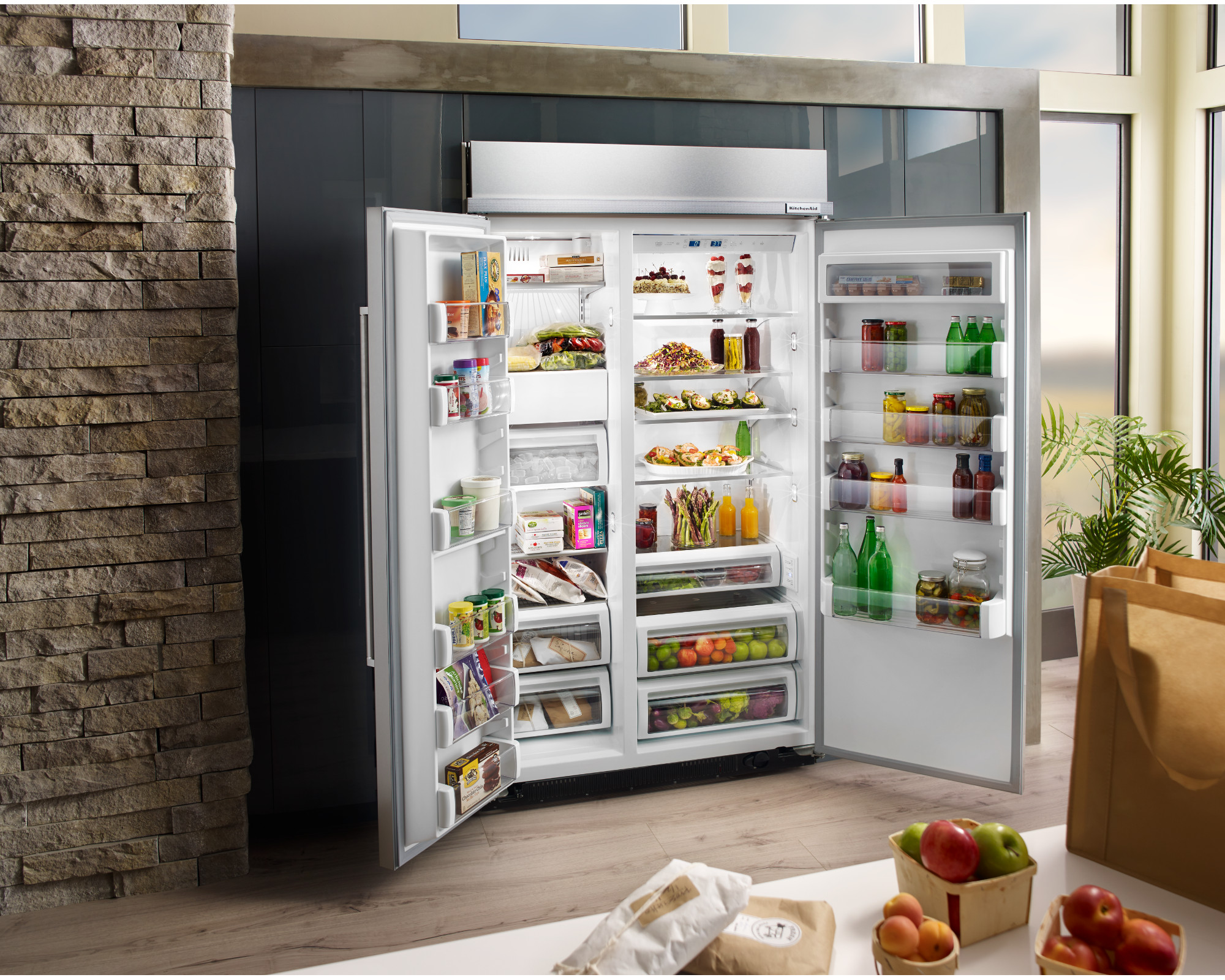 KitchenAid KBSN608ESS 30.0 cu. ft. Built-In Side-by-Side Refrigerator - Stainless Steel
