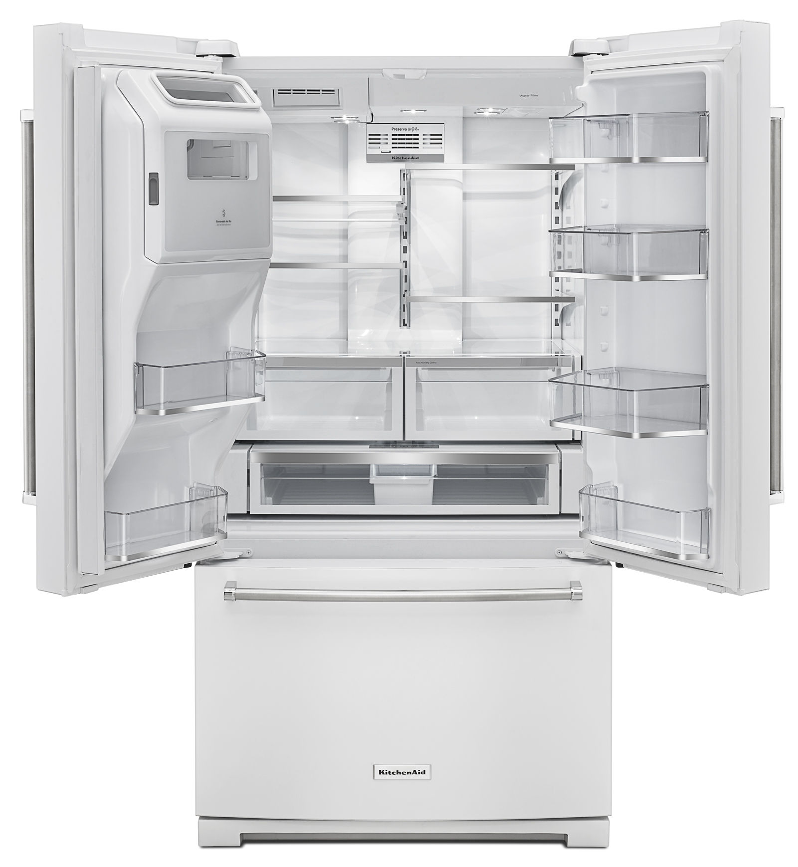 "KitchenAid KRFF507EWH 26.8 cu. ft. 36"" Width Standard Depth French Door Refrigerator - White"