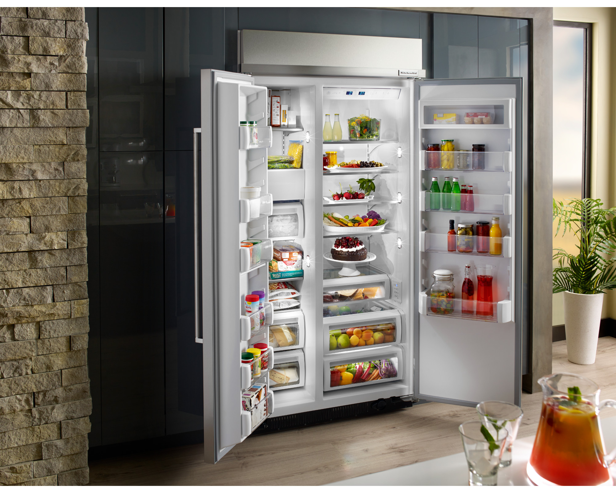 KitchenAid KBSN602ESS 25.5 cu. ft. Built-In Side-by-Side Refrigerator - Stainless Steel