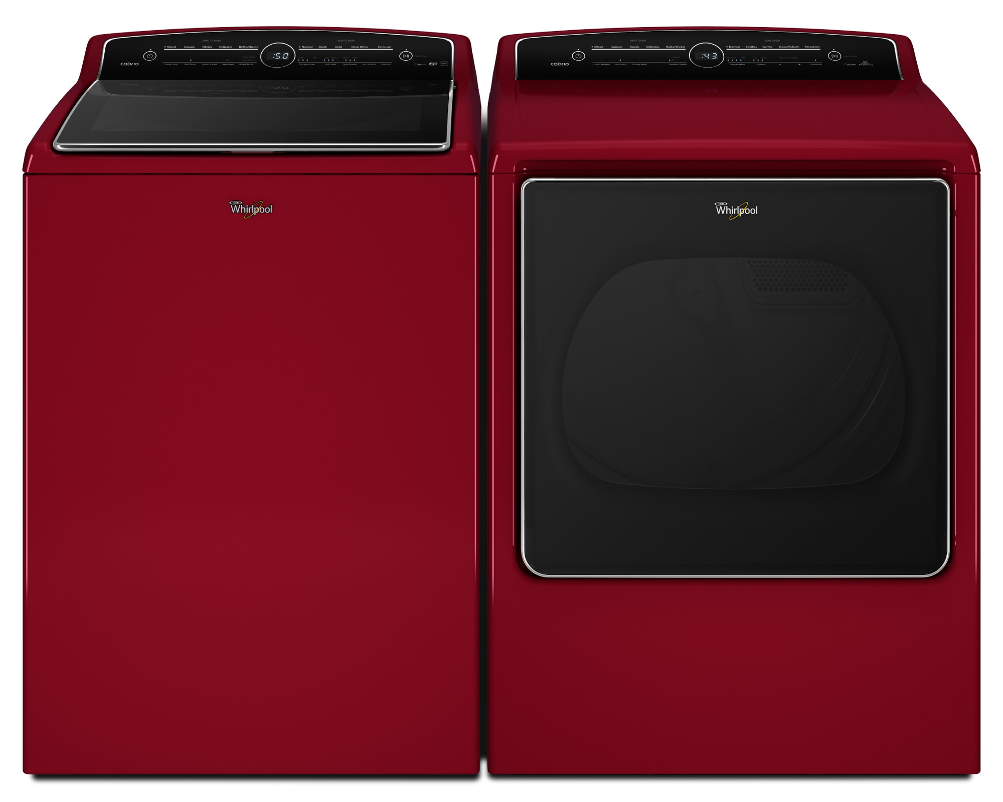 Whirlpool WED8500DR 8.8 cu. ft. Cabrio® High-Efficiency Electric Steam Dryer - Red