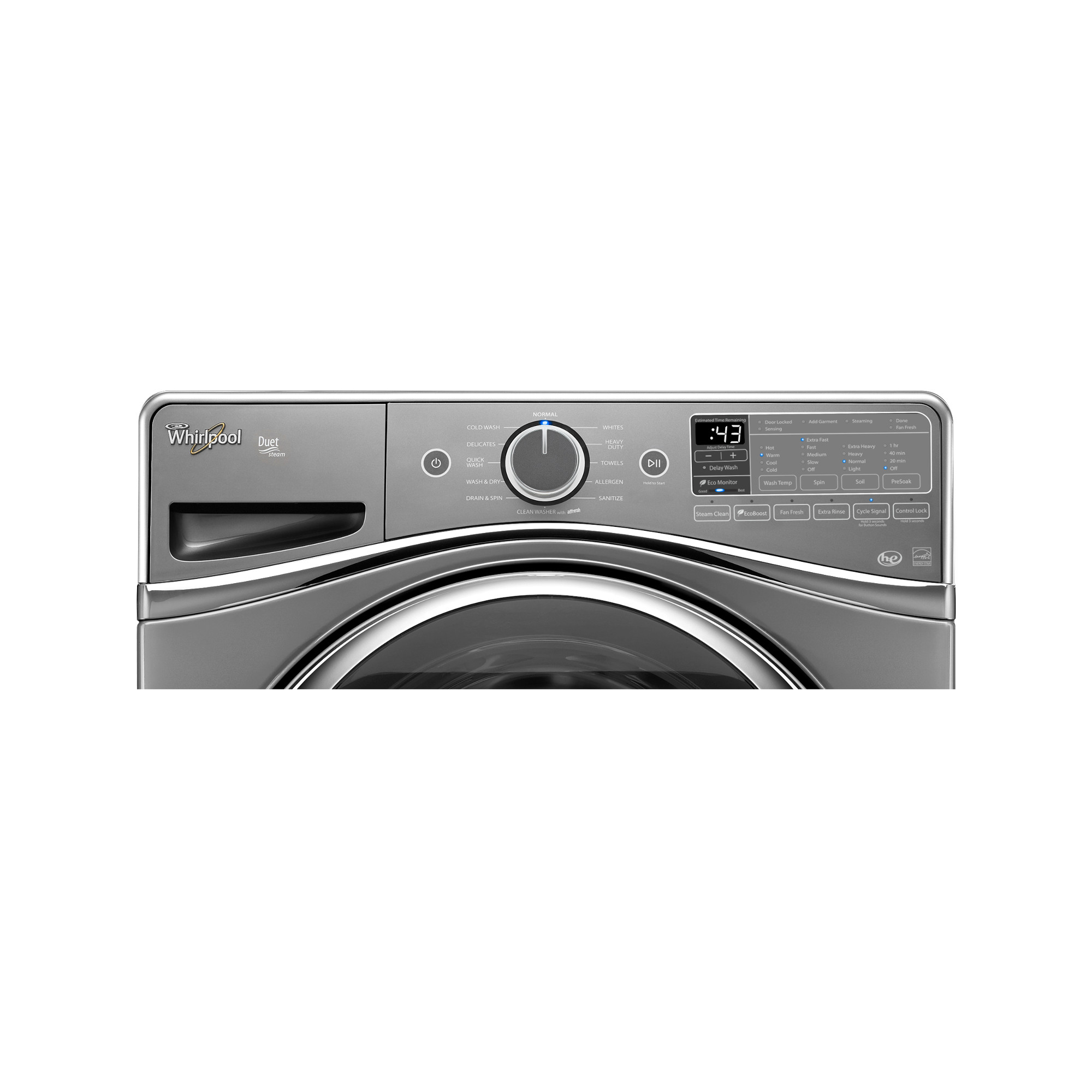 Whirlpool WFW95HEDC 4.5 cu. ft. Duet® Front-Load Washer w/ Wash and Dry Cycle - Chrome Shadow