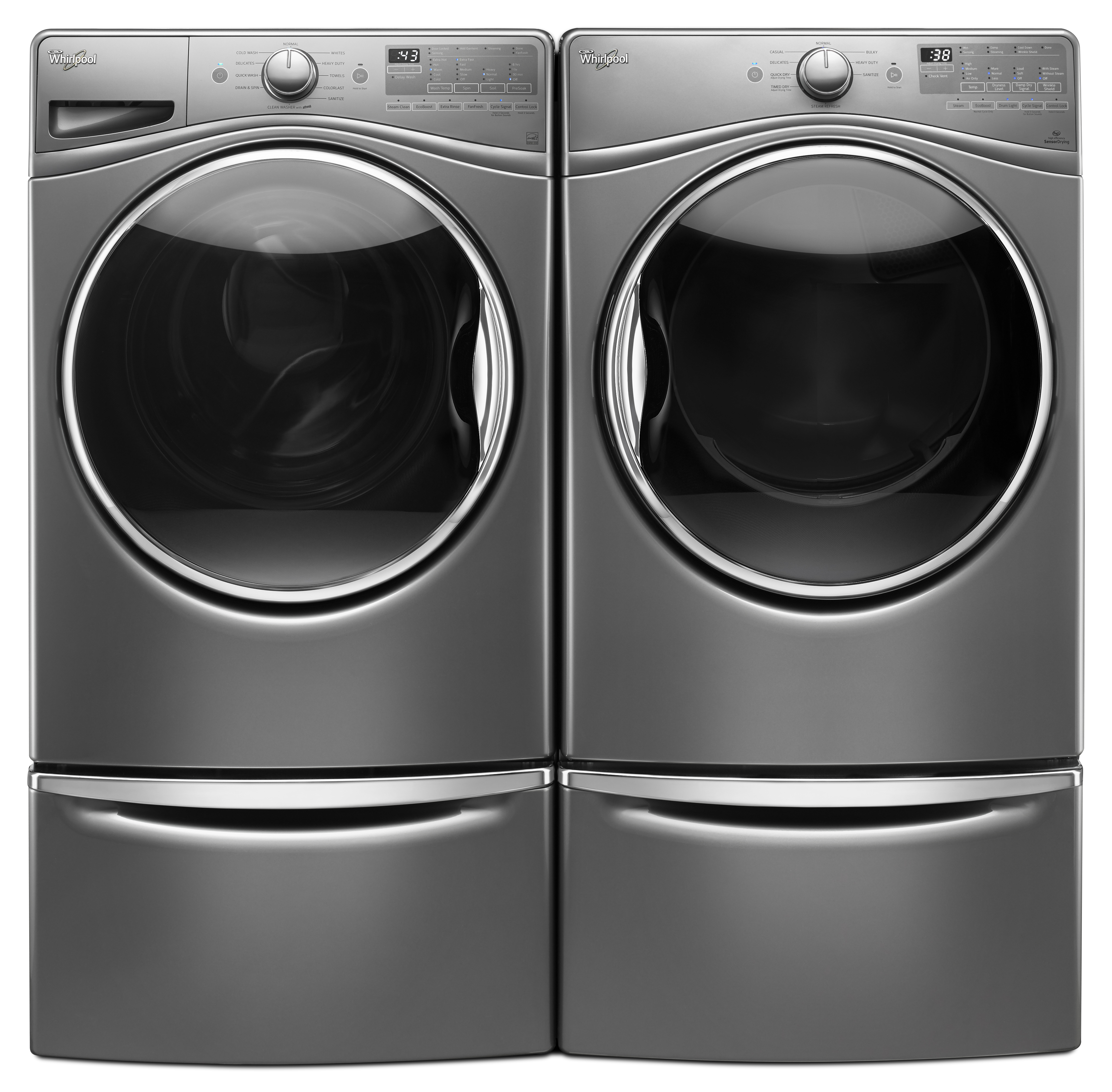 Whirlpool WFW90HEFC 4.5 cu. ft. Front Load Washer w/12-Hour FanFresh® Option - Chrome Shadow