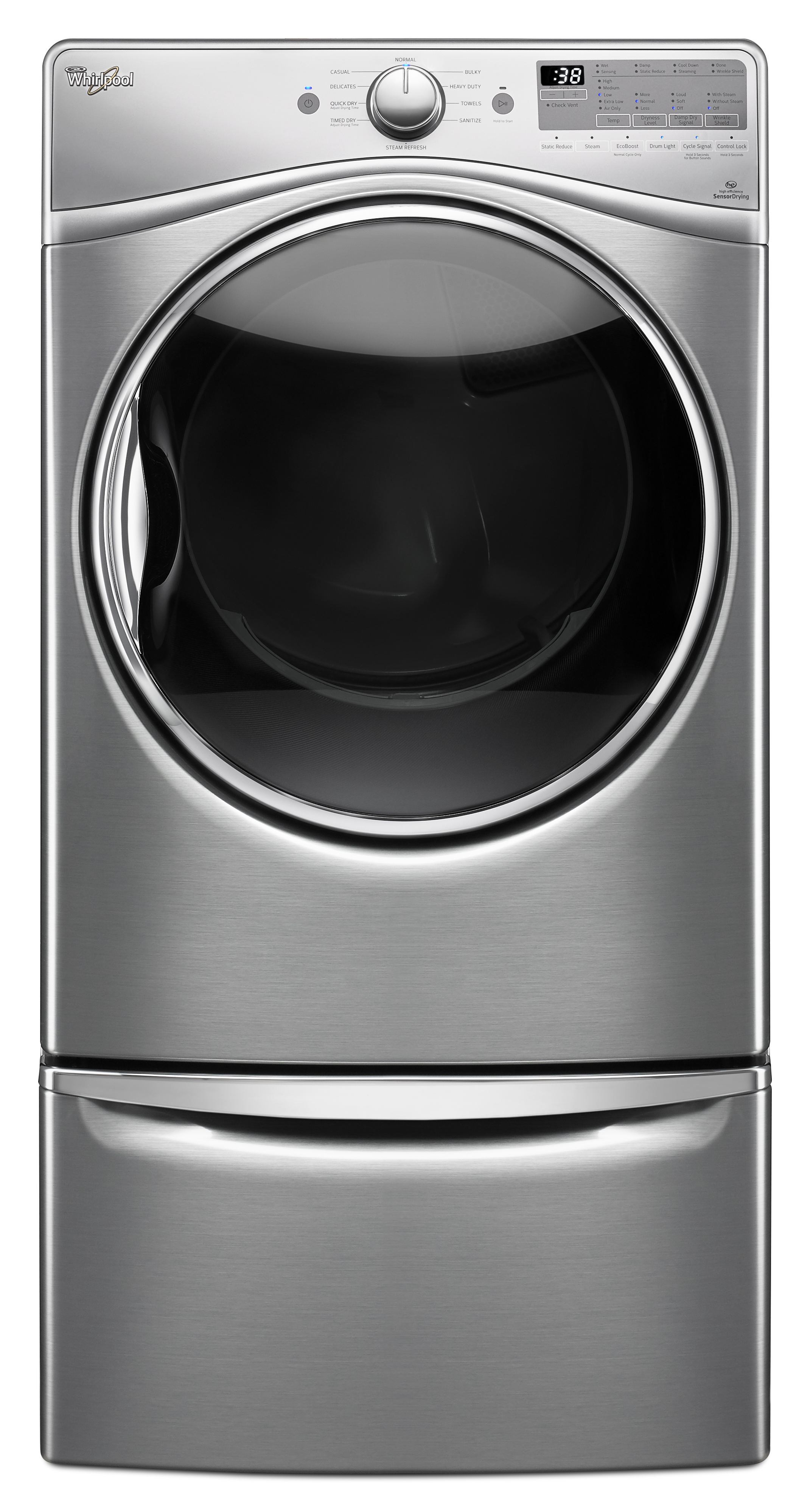 Whirlpool WED92HEFU 7.4 cu. ft. Electric Dryer w/ Advanced Moisture Sensing - Diamond Steel