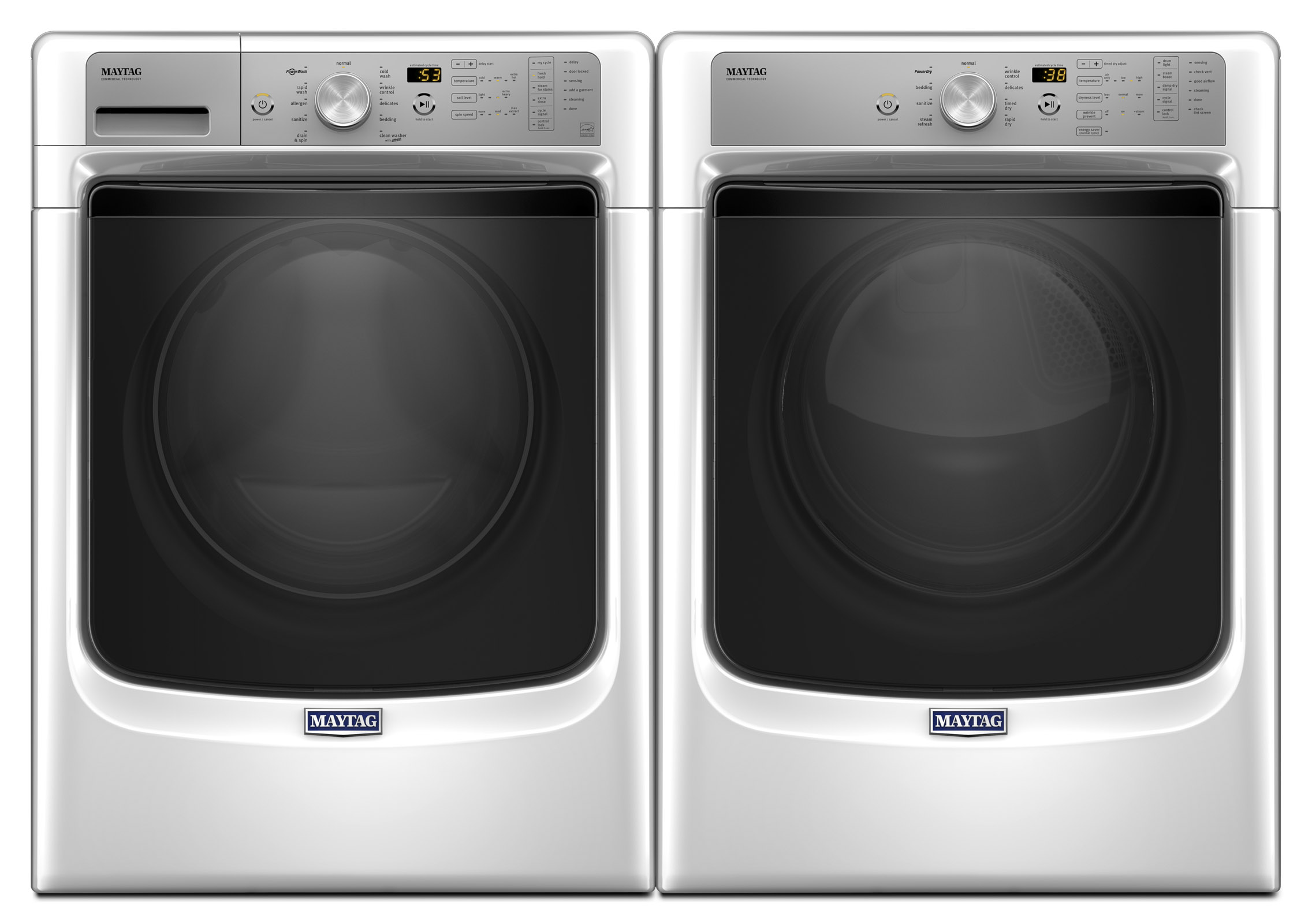 4.5 cu. ft. Front Load Washer with Fresh Hold® Option & 7.4 cu. ft. Dryer w/ Sanitize Cycle - White