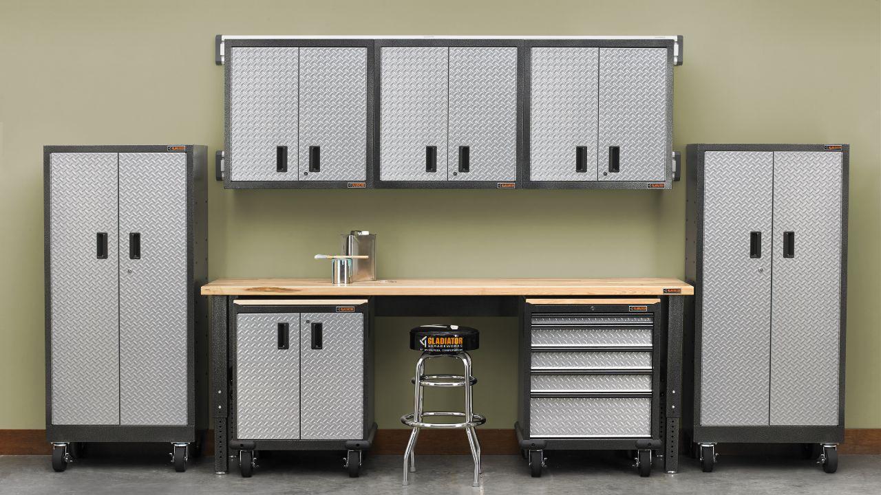 Gladiator Premier Series Pre-Assembled 30 in. H x 30 in. W x 12 in. D Steel 2-Door Garage Wall Cabinet in Silver Tread