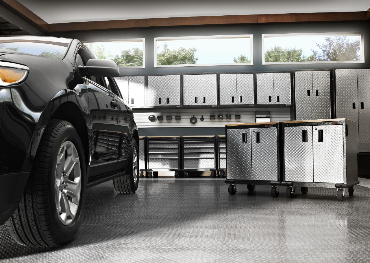 Gladiator Ready to Assemble 72 in. H x 36 in. W x 24 in. D Steel Freestanding Garage Cabinet in Silver Tread
