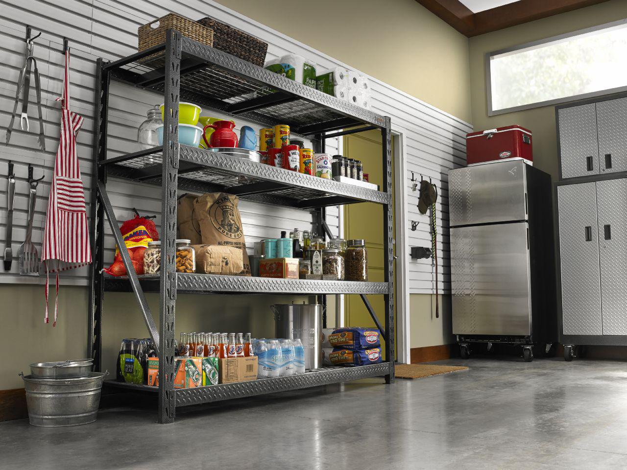 Gladiator 77 in. W x 24 in. D x 73 in. H 4-Shelf Welded Steel Garage Shelving Unit, 8000 lb. Capacity