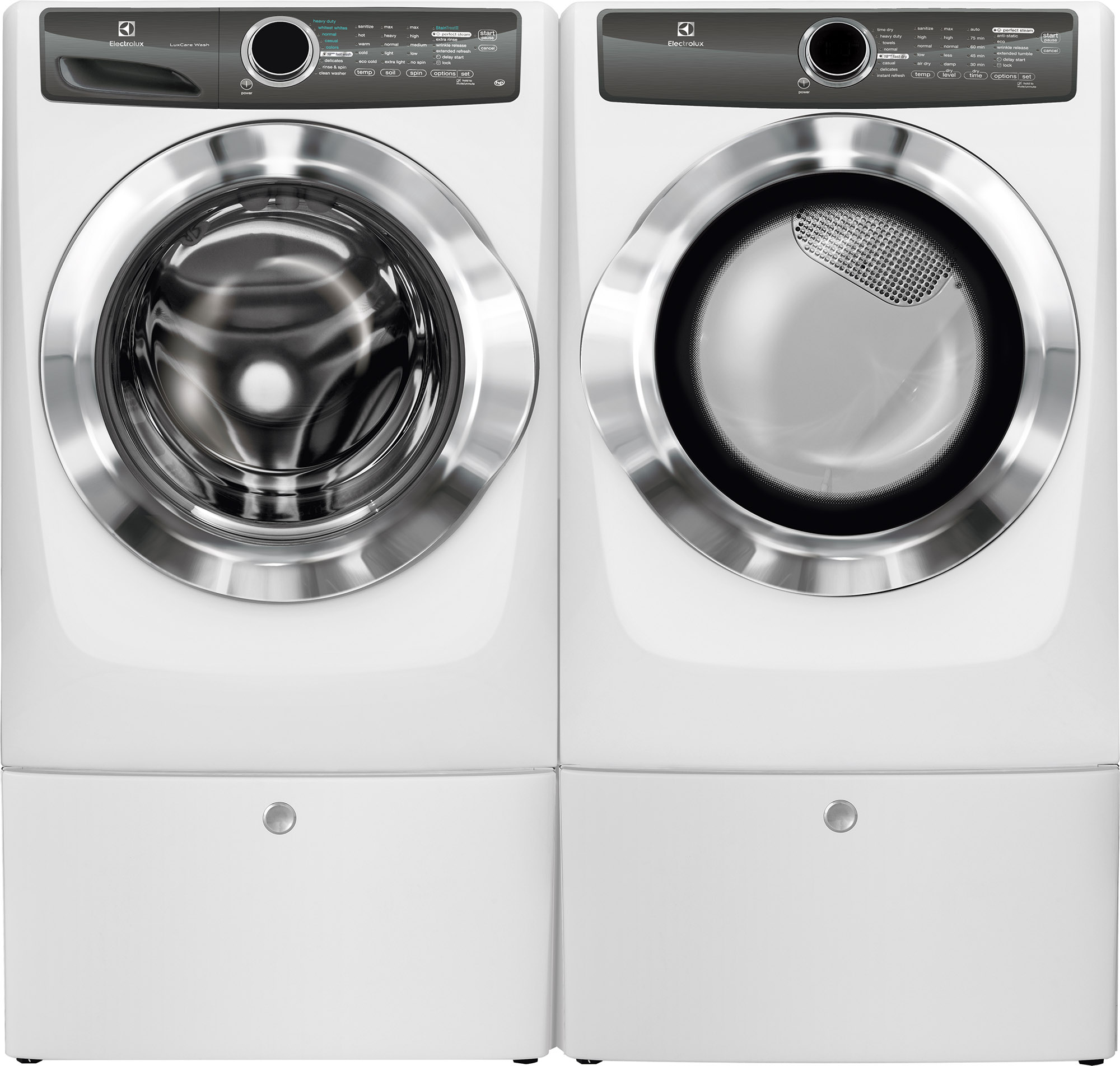 4.3 cu. ft. Front-Load Perfect Steam Washer & 8.0 cu. ft. Electric/Gas Dryer w/ Pedestal