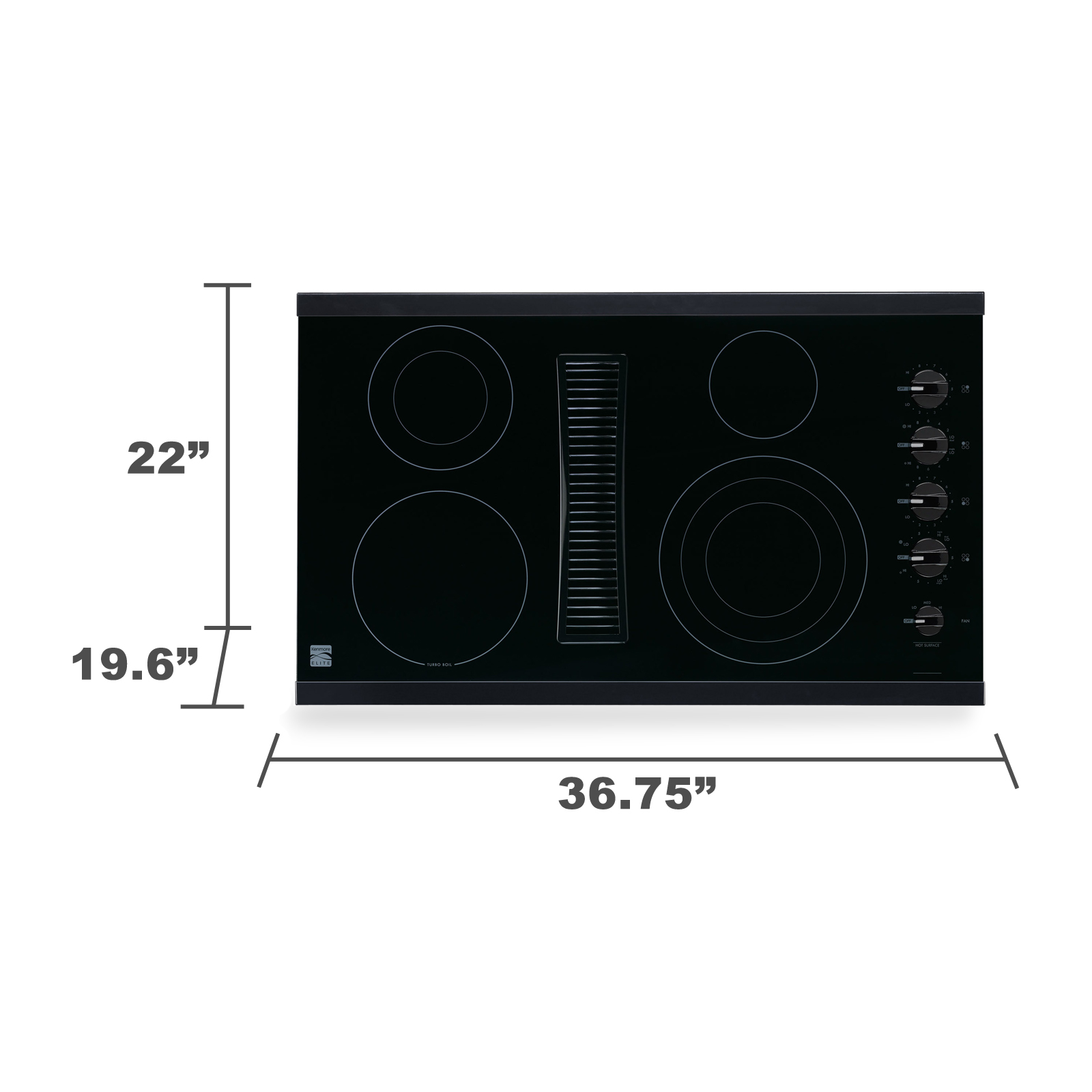 "Kenmore Elite 44129 36"" Downdraft Electric Cooktop - Black"