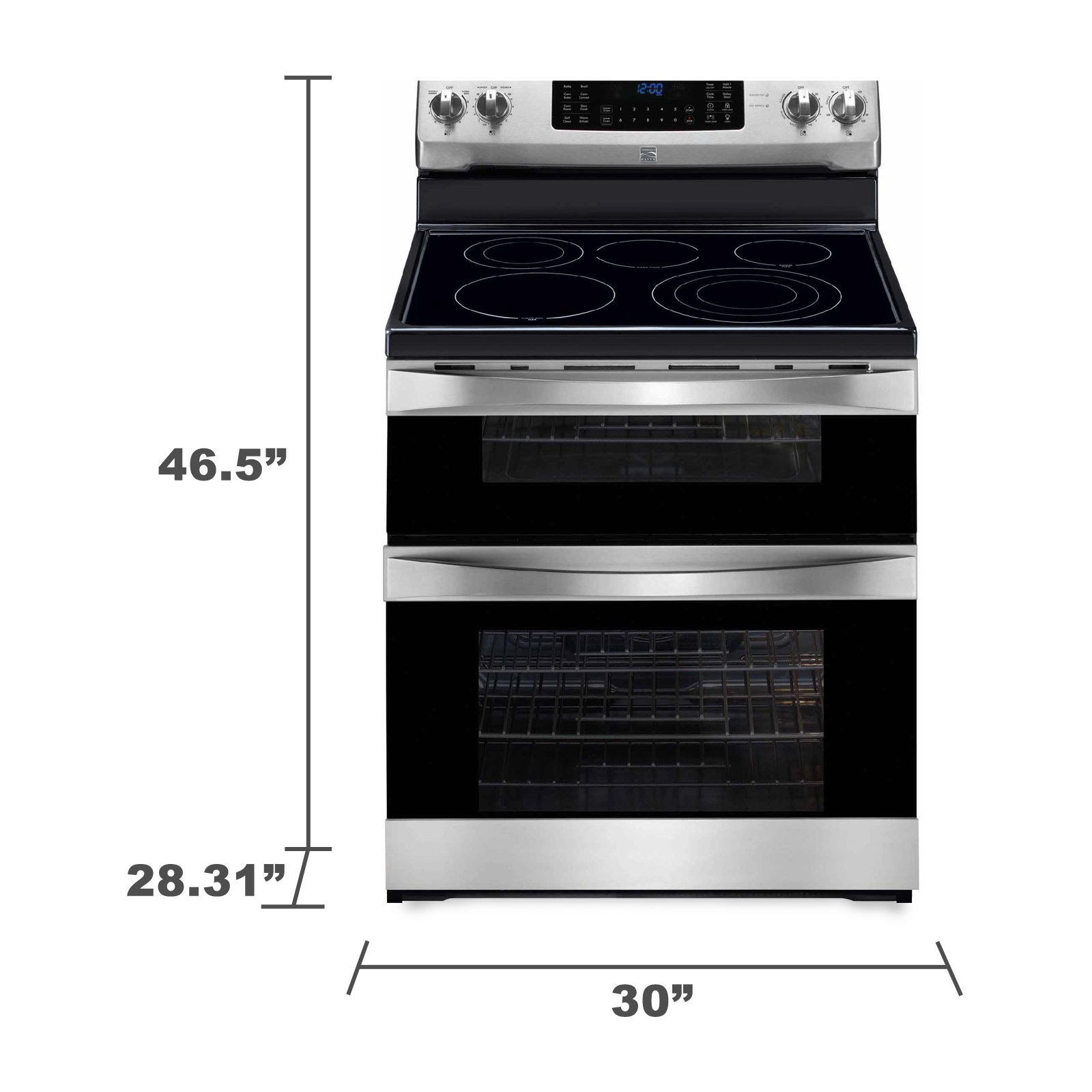 Kenmore Elite 97313 6.9 cu. ft. Double-Oven Electric Range w/ True Convection - Stainless Steel w Black Trim