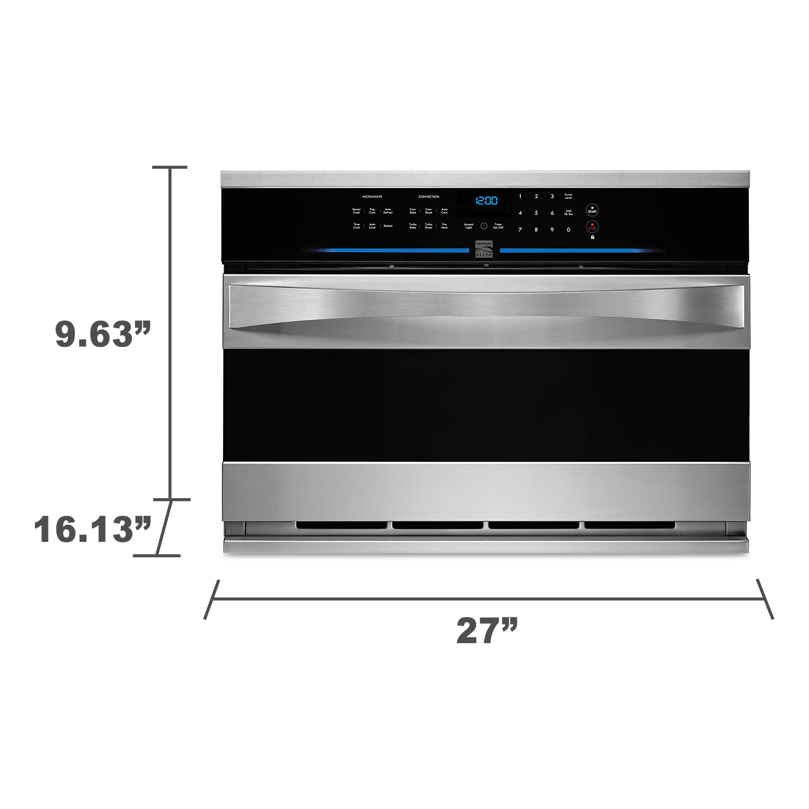 "Kenmore Elite 48893 27"" Built-in Convection Microwave - Stainless Steel"