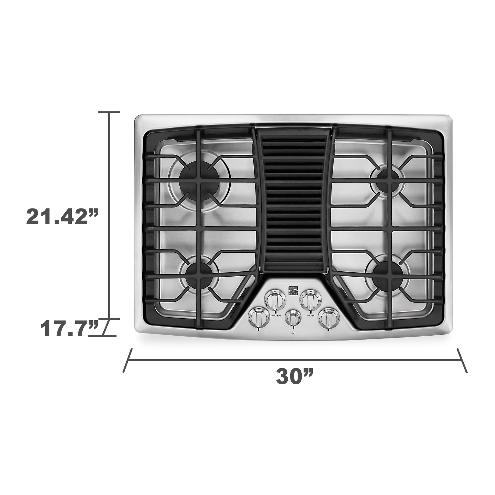 "Kenmore Elite 31113 30"" Downdraft Gas Cooktop  Stainless Steel"