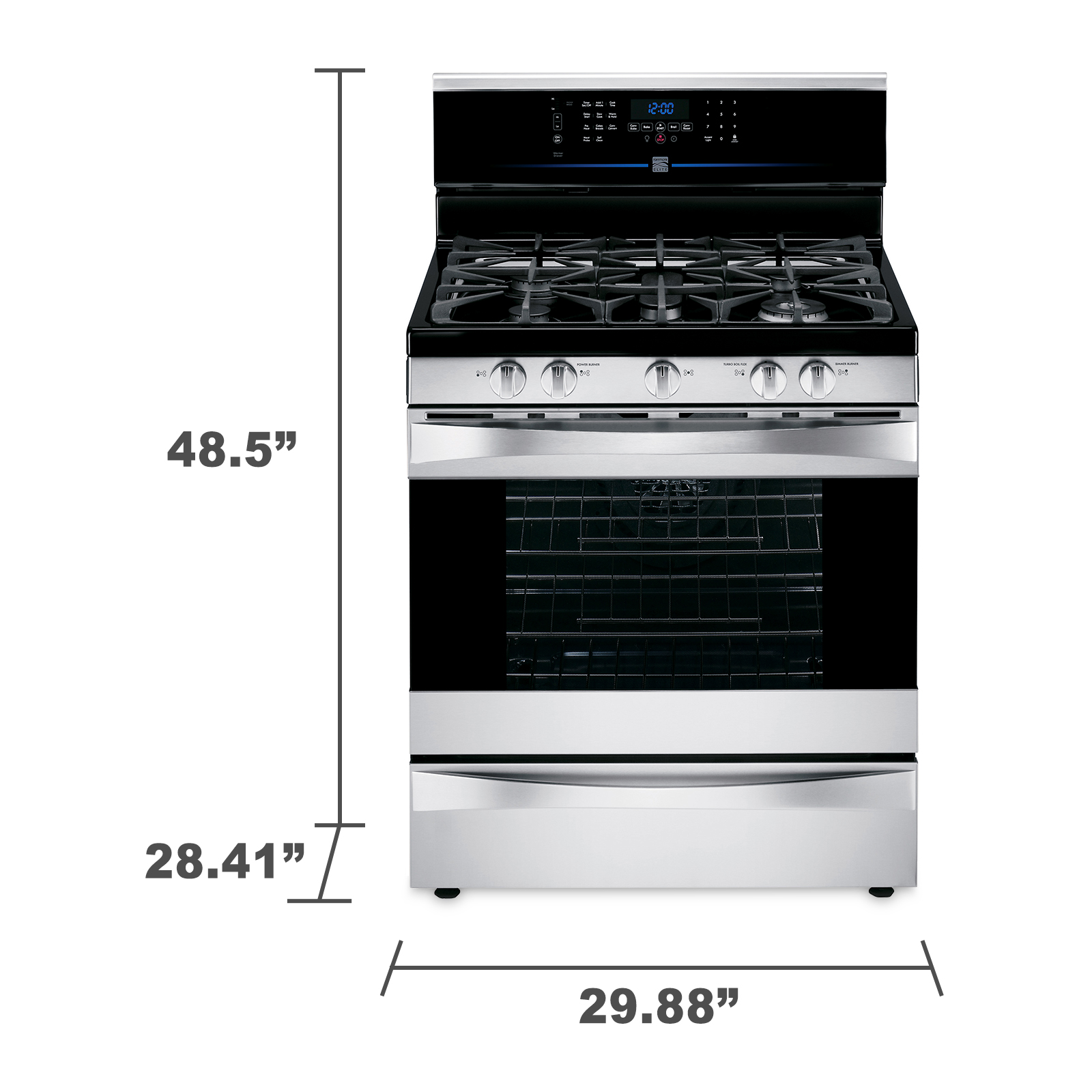 Kenmore Elite 5.5 cu. ft. Dual-Fuel Range w/ True Convection - Stainless Steel