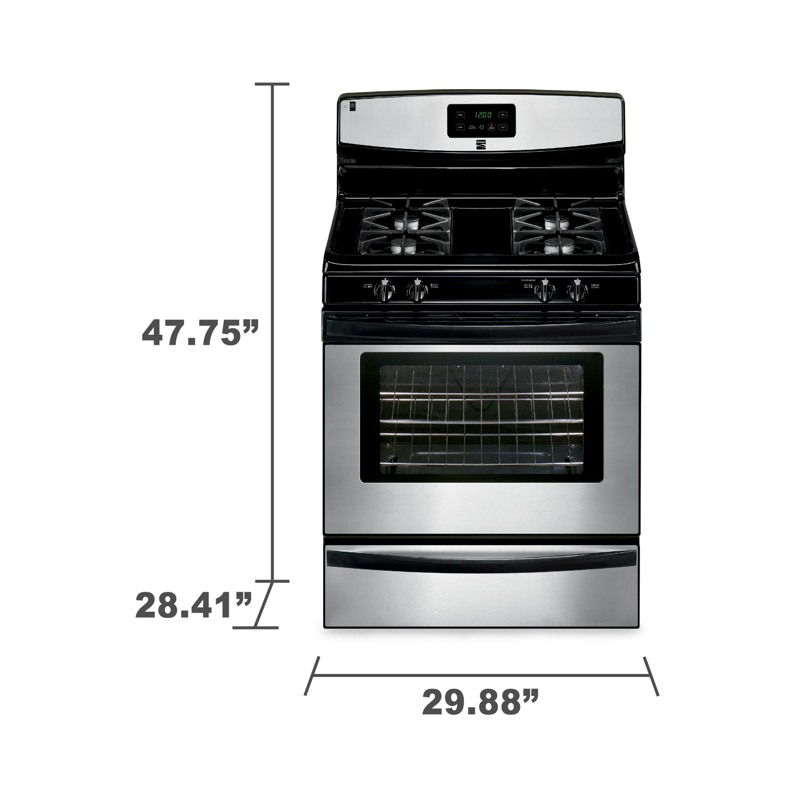 Kenmore 73233 4.2 cu. ft. Gas Range w/ Broil & Serve™ Drawer - Stainless Steel