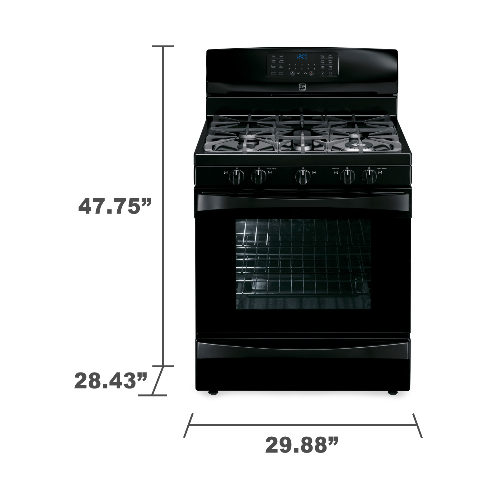 Kenmore Elite 75239 5.6 cu. ft. Gas Range w/ True Convection - Black