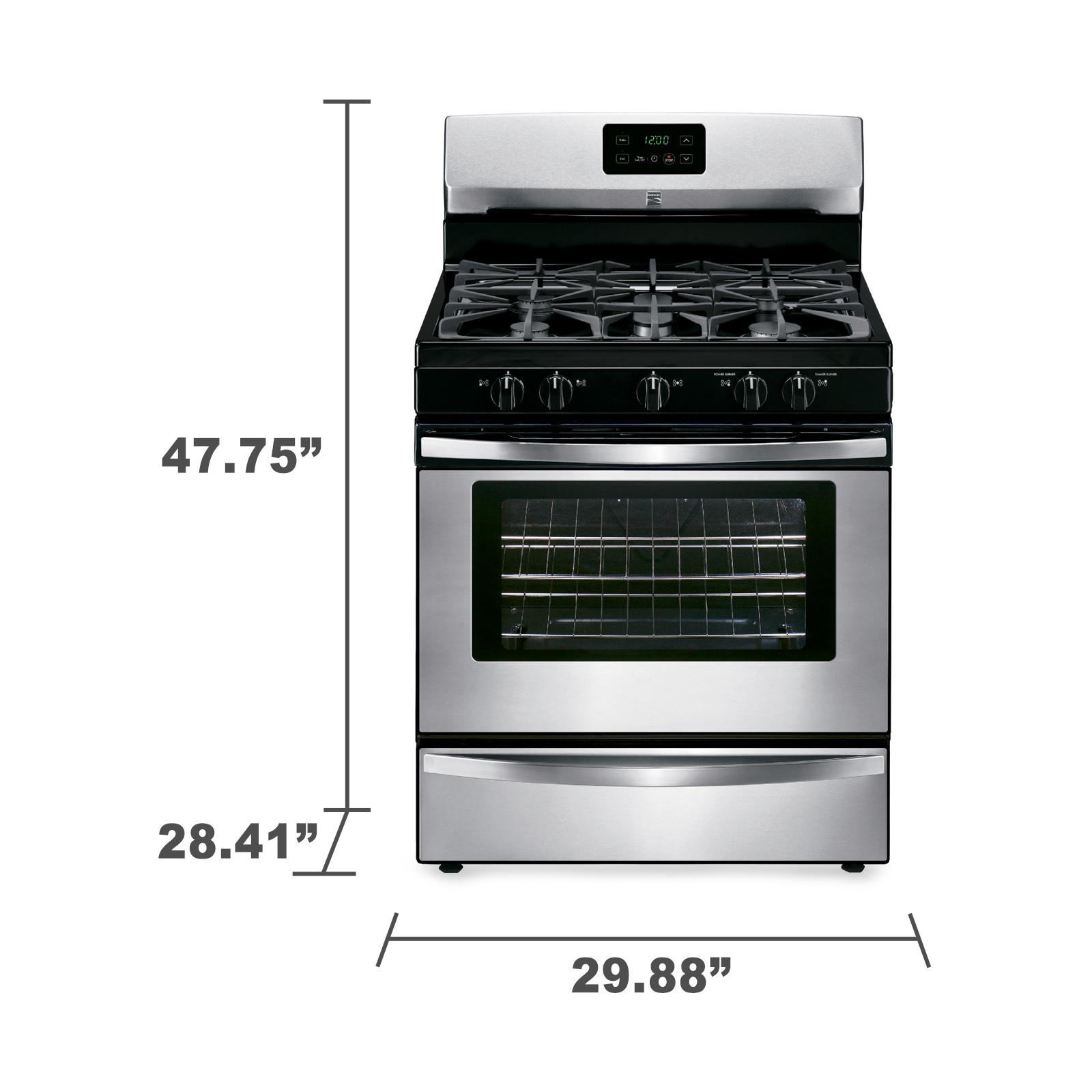 Kenmore 4.2 cu. ft. Gas Range w/ Broil & Serve™ Drawer - Stainless Steel