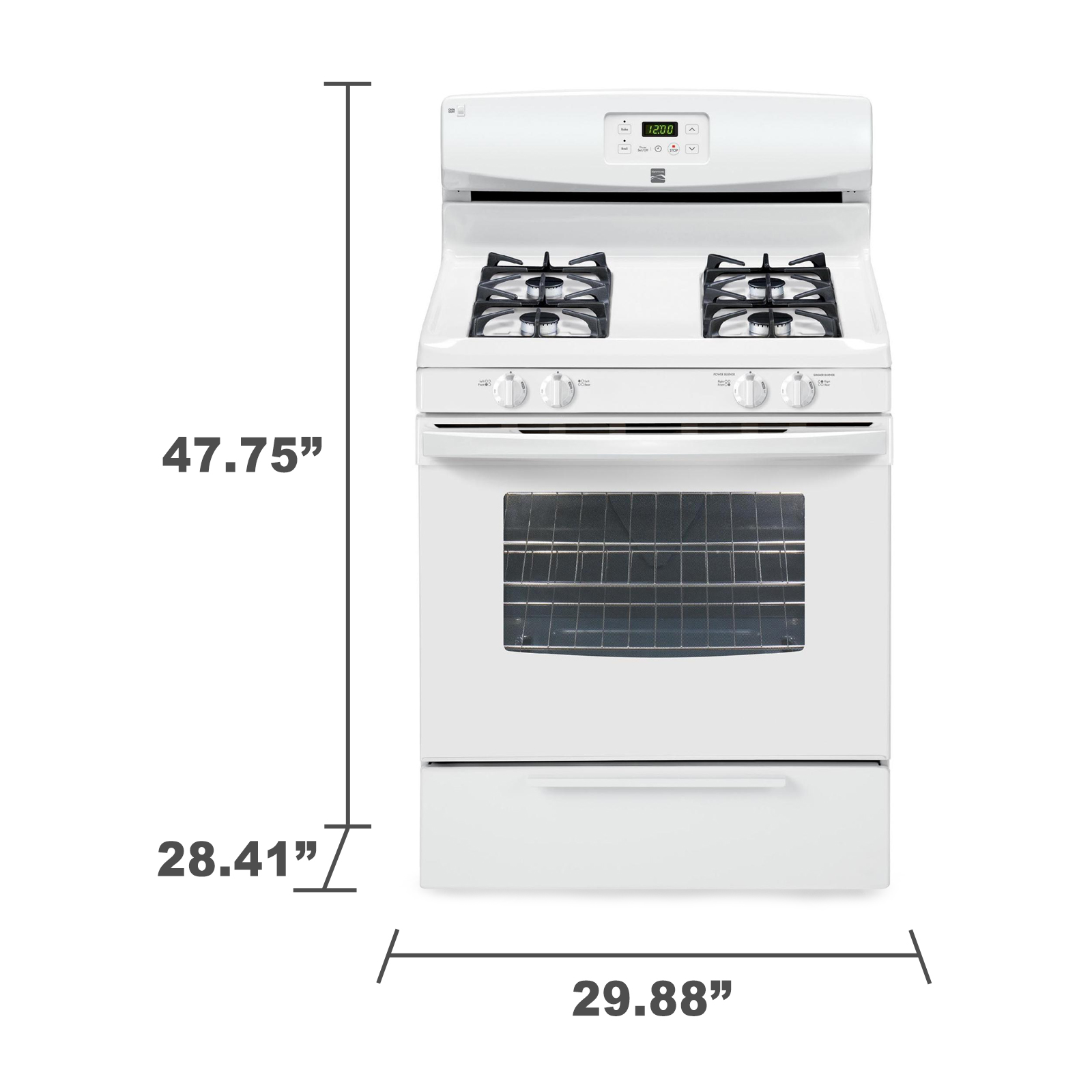 Kenmore 73232 4.2 cu. ft. Gas Range w/ Broil & Serve Drawer - White