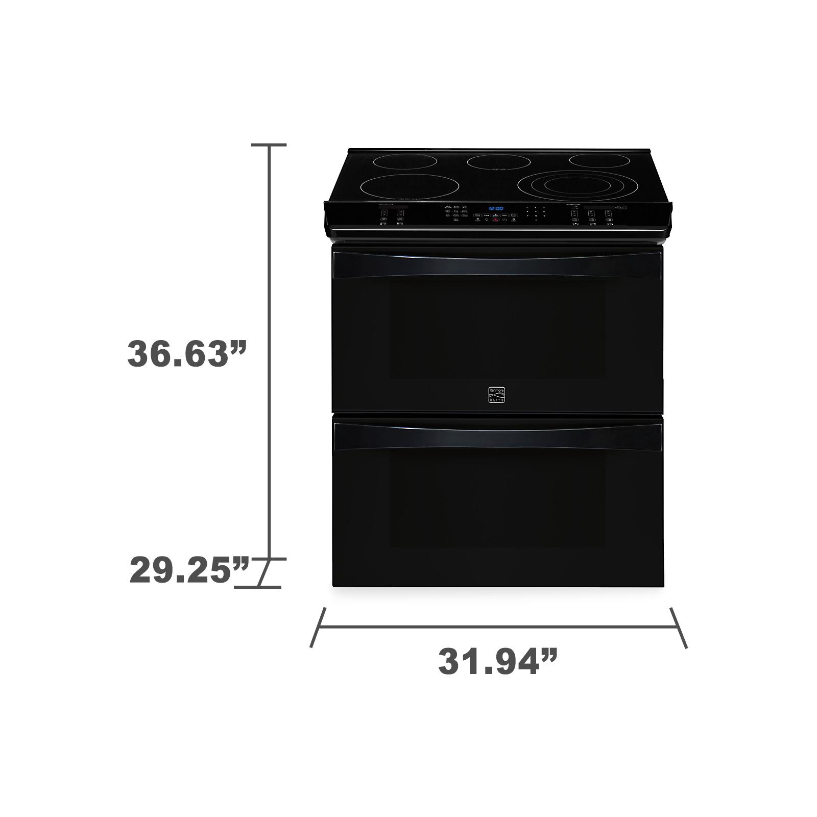 "Kenmore Elite 30"" Double-Oven Slide-In Electric Range w/ Convection  - Black"