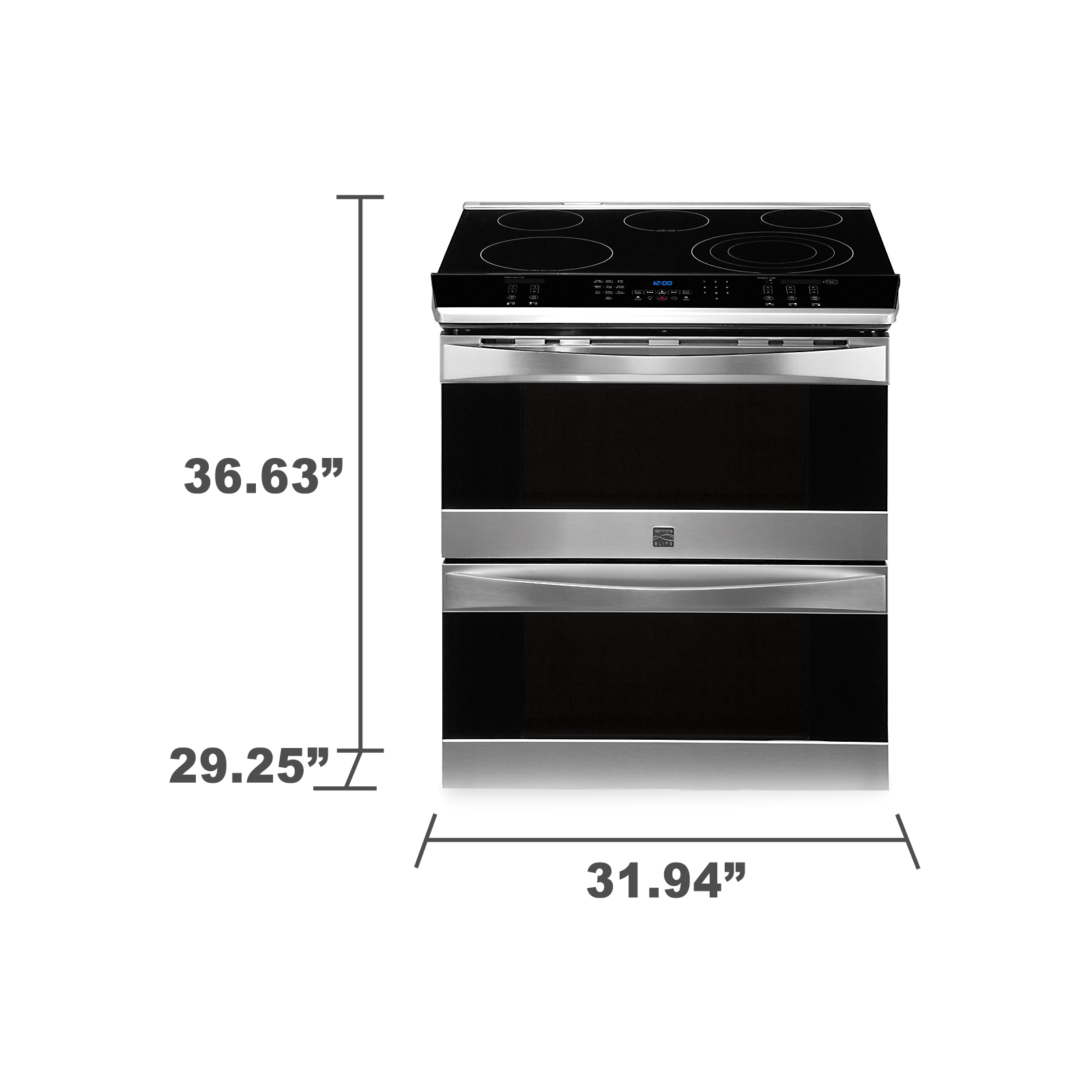 "Kenmore Elite 30"" Double-Oven Slide-In Electric Range w/ Convection - Stainless Steel"