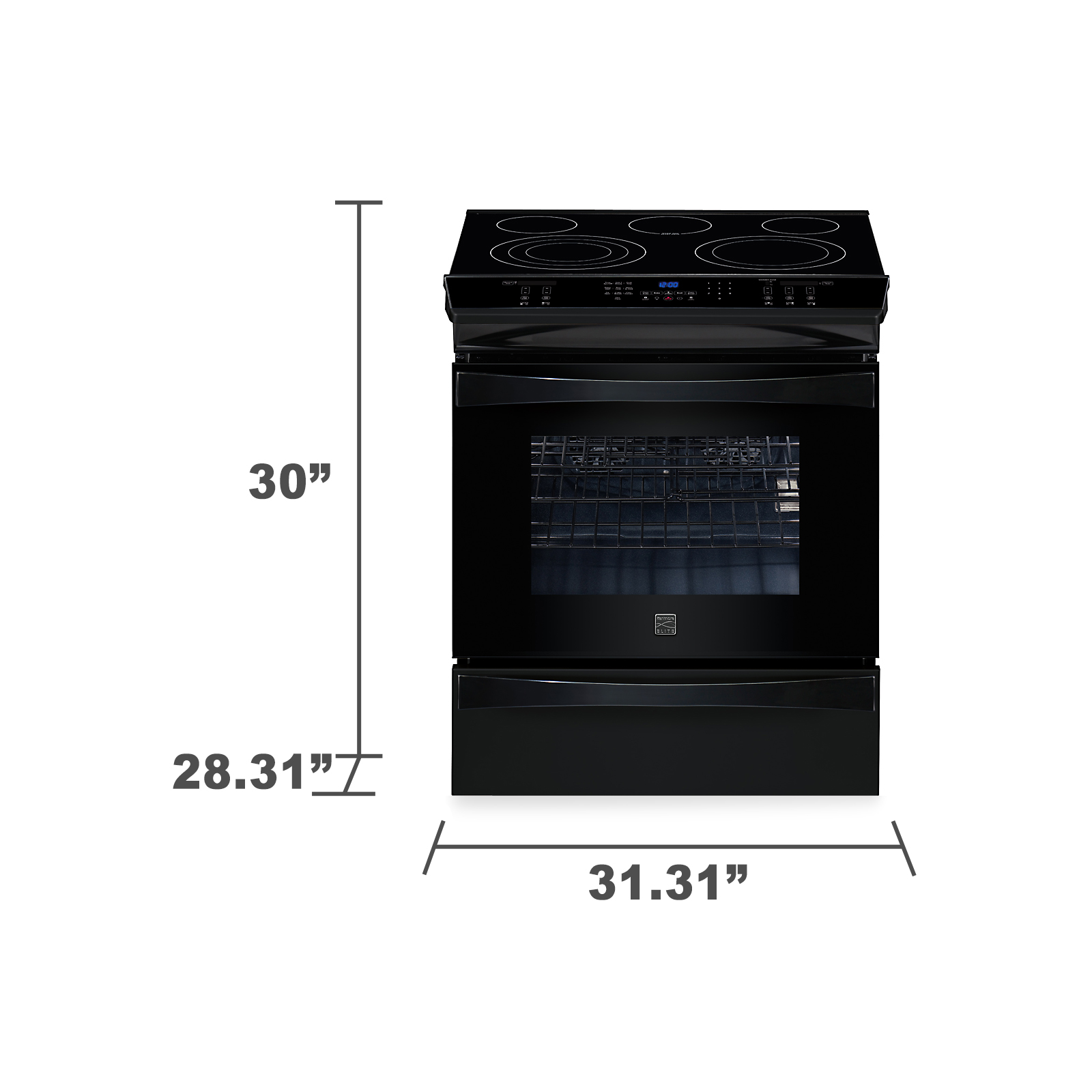 "Kenmore Elite 30"" Slide-In Electric Range w/ Convection -Black"