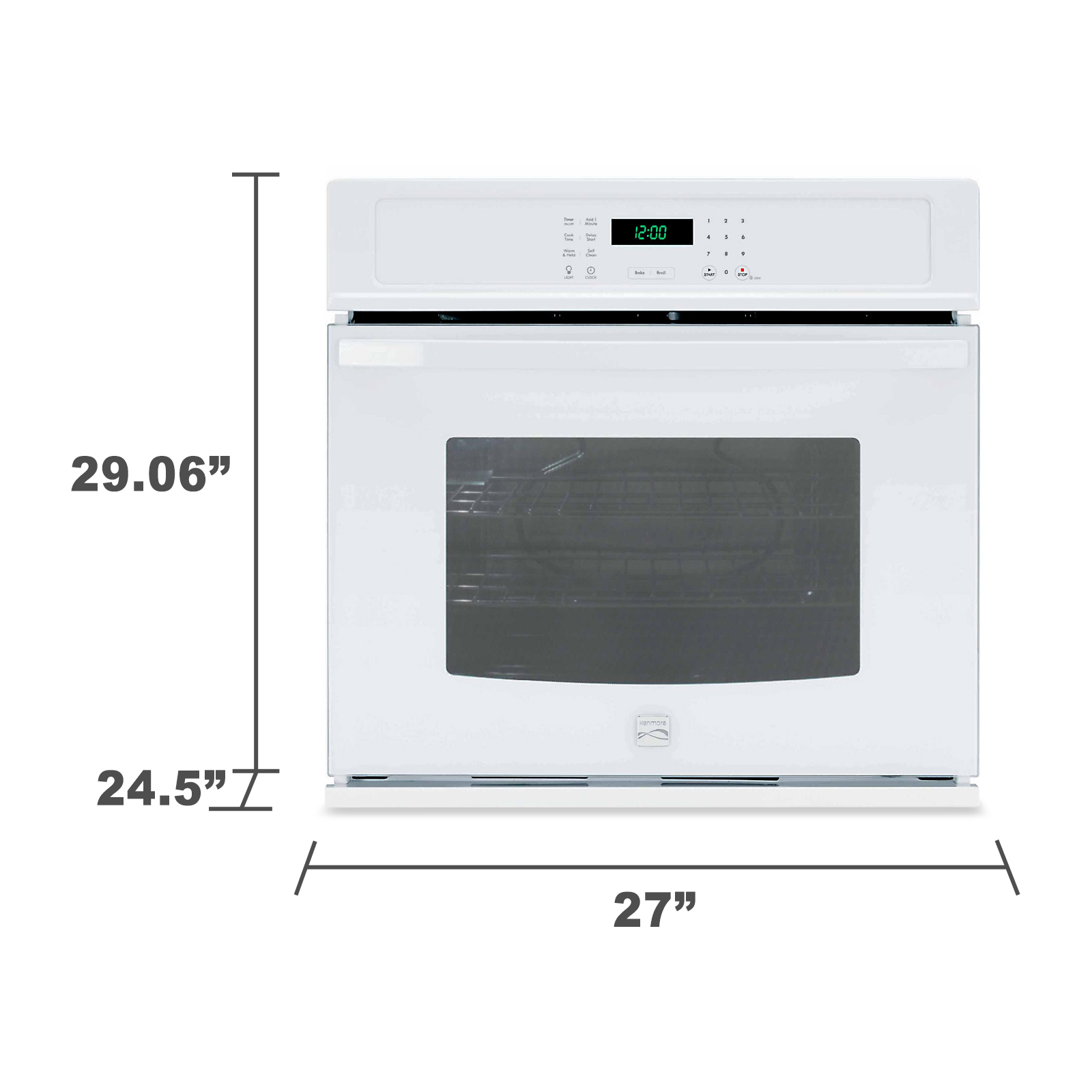 "Kenmore 49402 27"" Electric Self-Clean Single Wall Oven - White"
