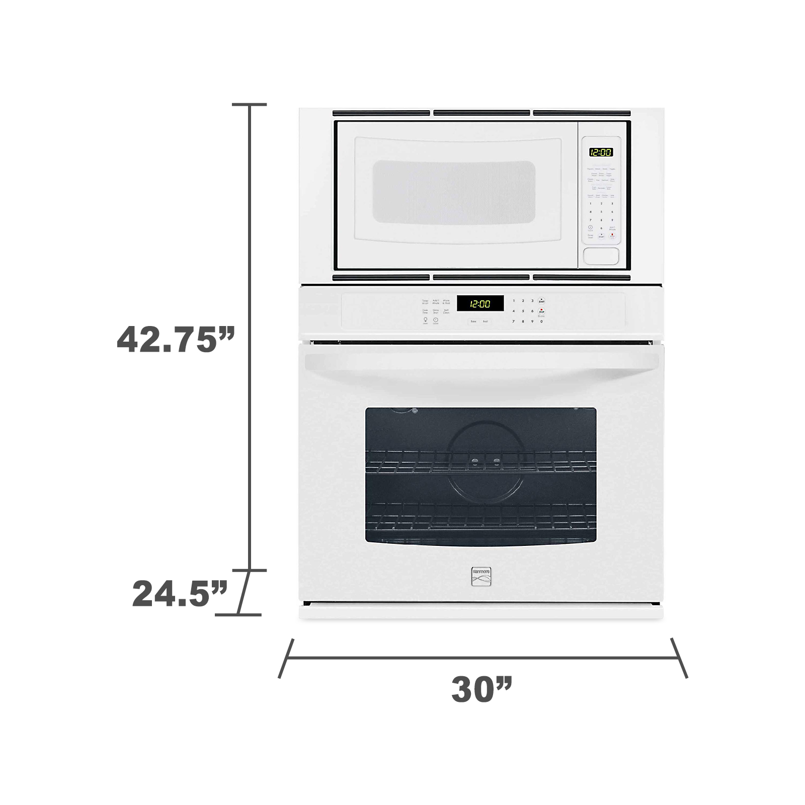"Kenmore 49612 30"" Electric Combination Wall Oven - White"