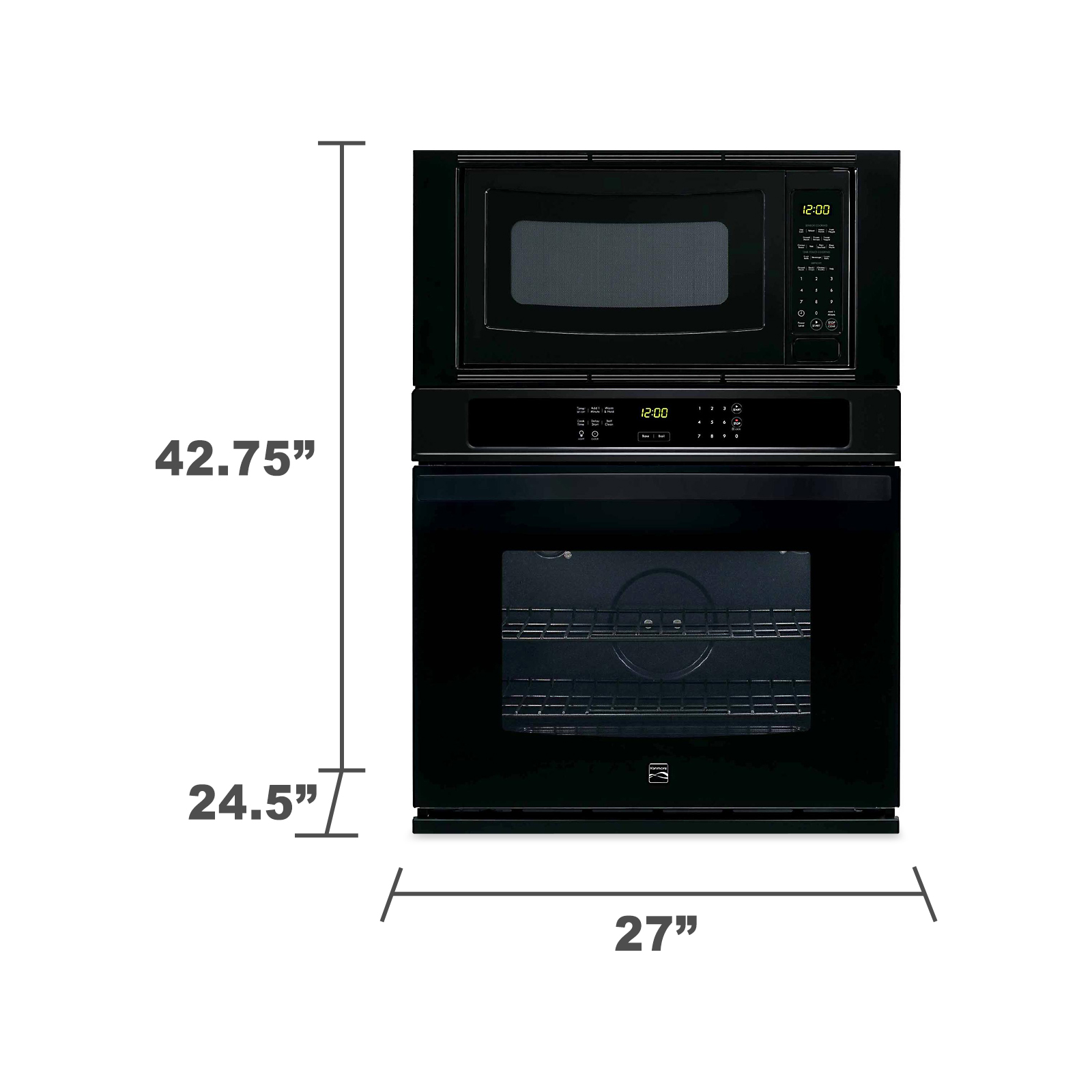 "Kenmore 49609 27"" Electric Combination Wall Oven - Black"