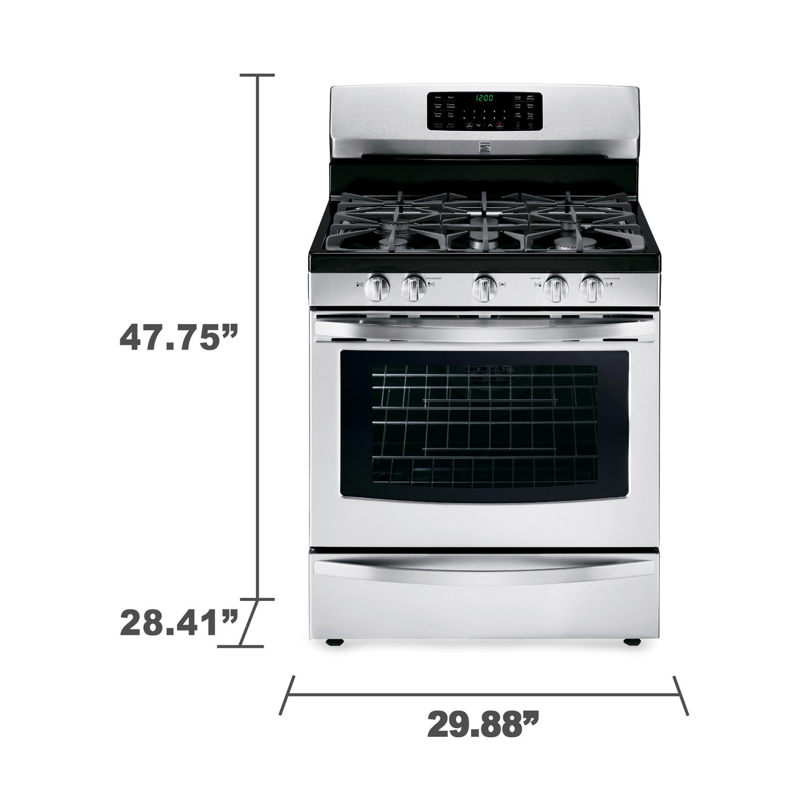 Kenmore 74333 5.6 cu. ft. Gas Range w/ True Convection - Stainless Steel