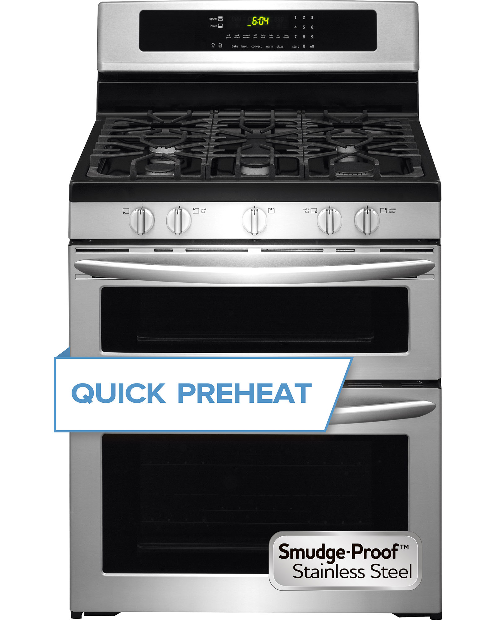 """Frigidaire FGGF304DPF 30"""" Freestanding Gas Double Range Oven - Stainless Steel"""
