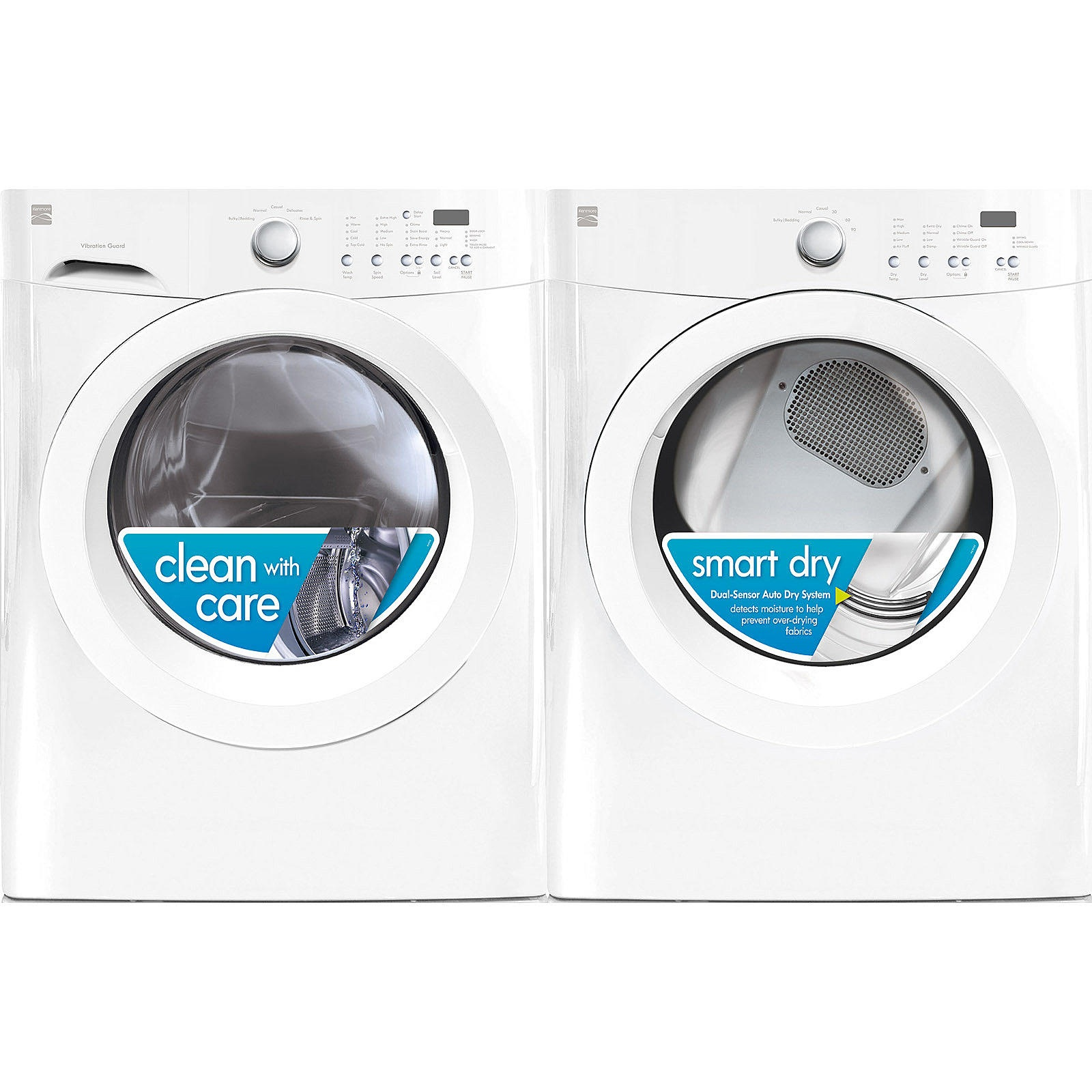 Kenmore 3.9 cu. ft. Front-Load Washer & 7.0 cu. ft. Electric Dryer w/ Wrinkle Guard
