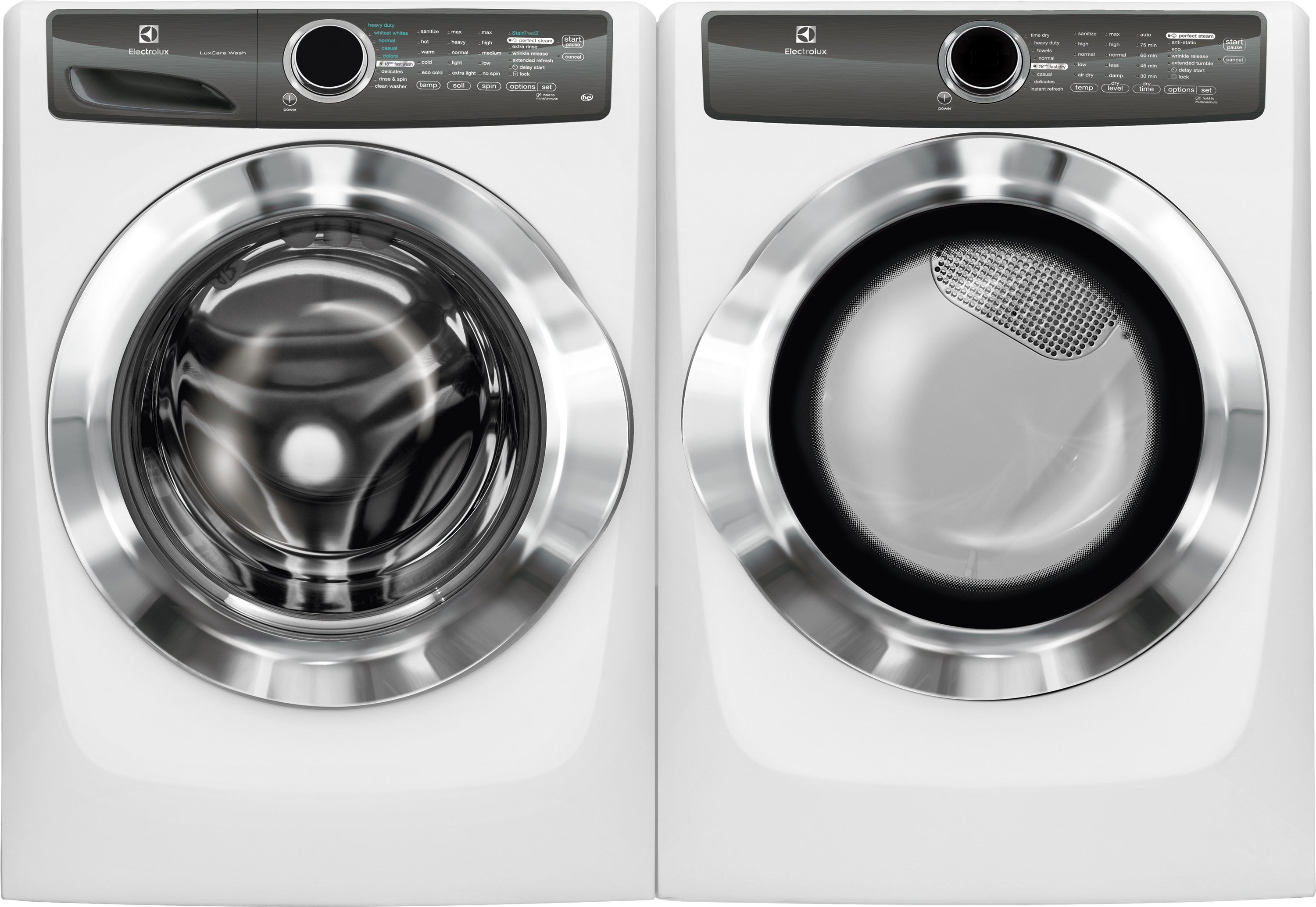 4.3 cu. ft. Front-Load Perfect Steam Washer & 8.0 cu. ft. Instant Refresh Dryer - White