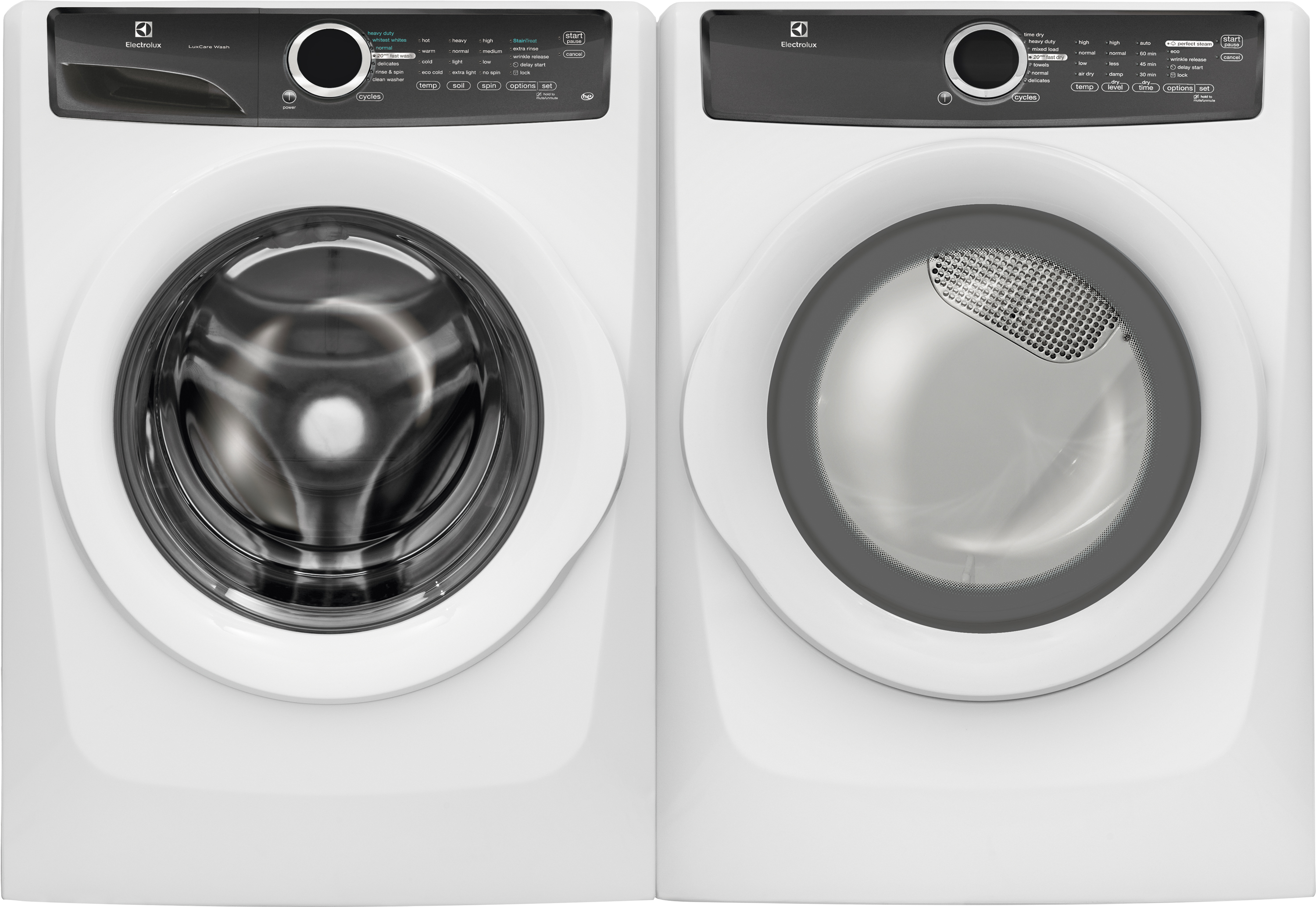 4.3 cu. ft. Front-Load Washer & 8.0 cu. ft. Perfect Steam Dryer - White