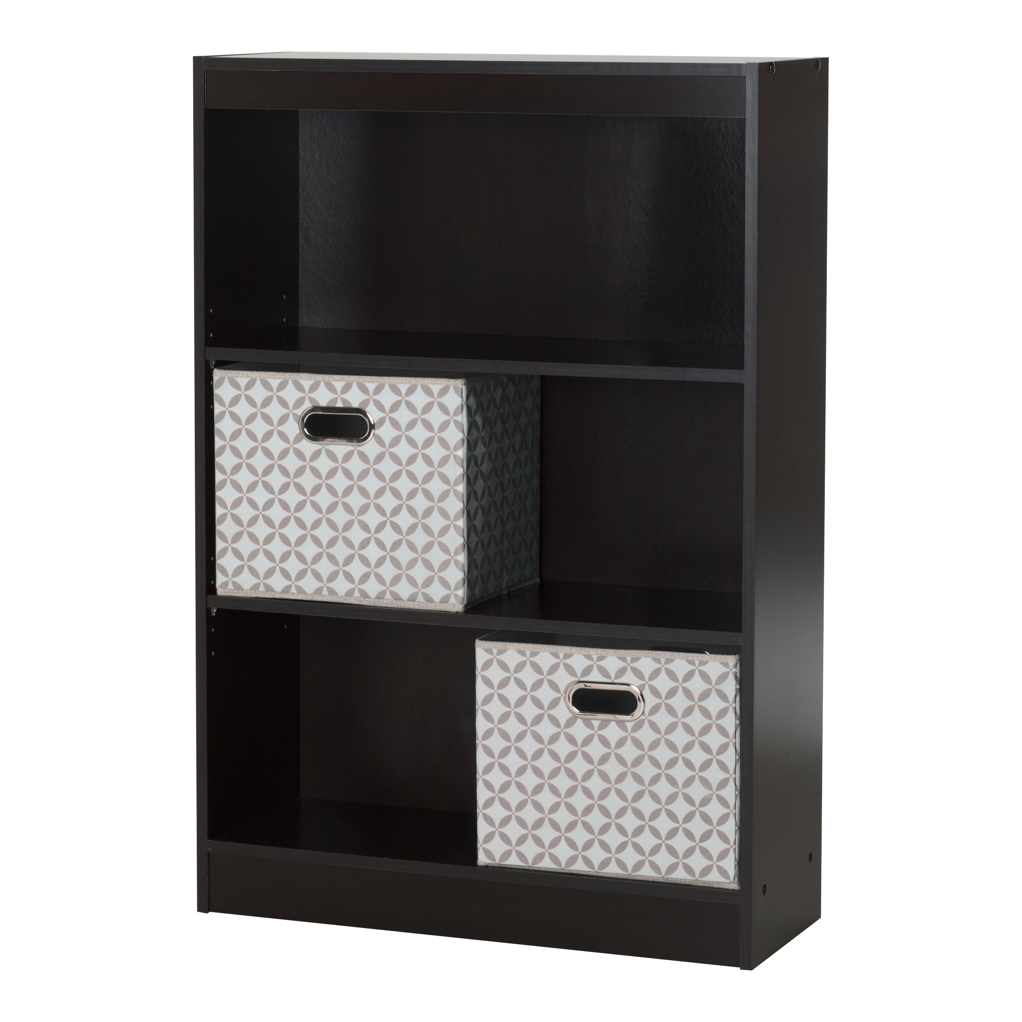 South Shore Axess Chocolate 3-Shelf Bookcase with 2 Fabric Storage Baskets Bundle