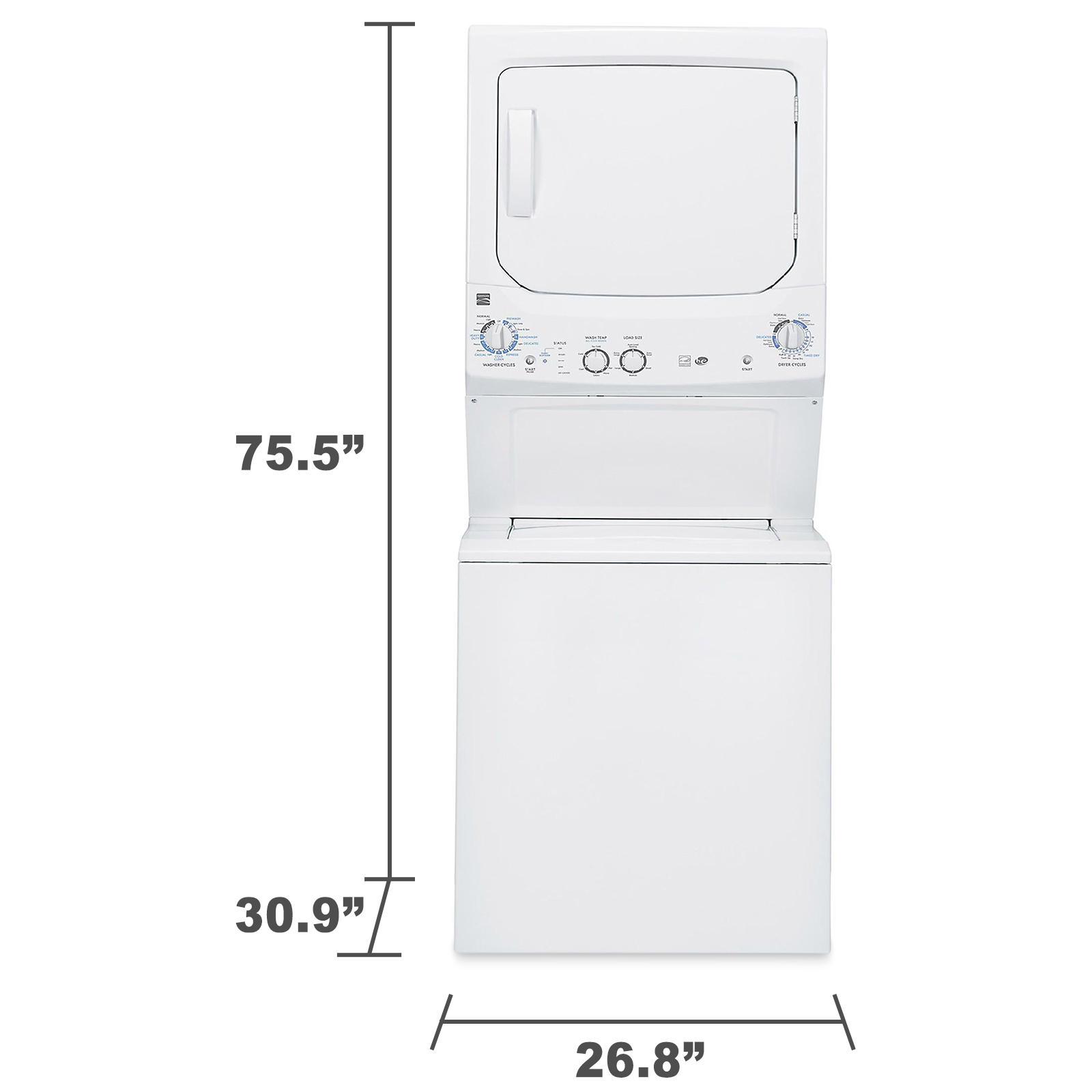 """Kenmore 27"""" Stacked Laundry Center w/ Gas Dryer"""