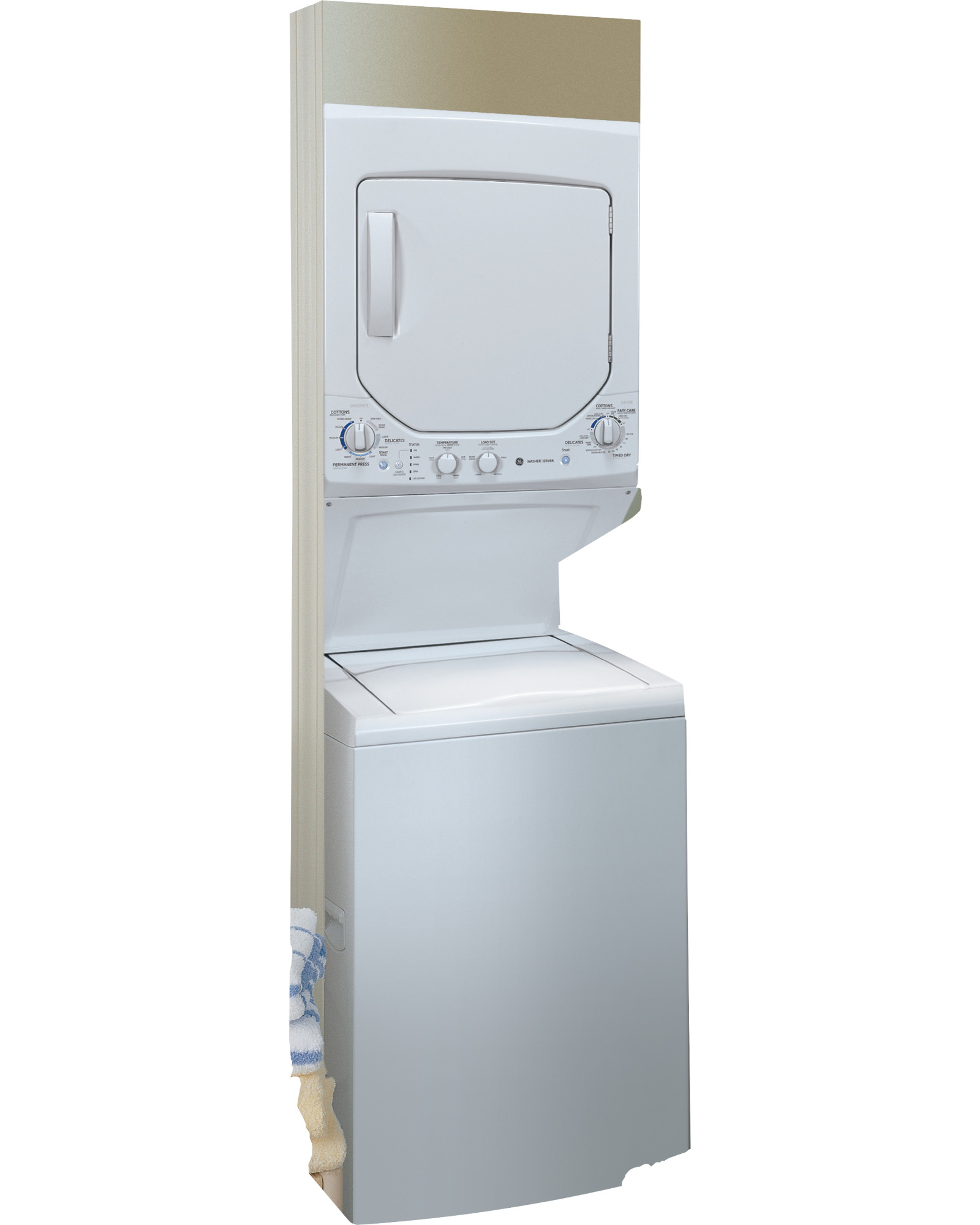 """GE Appliances GUD24ESSJWW Spacemaker® 24"""" 2.0 cu. ft. Electric Stacked Laundry Unit - White"""