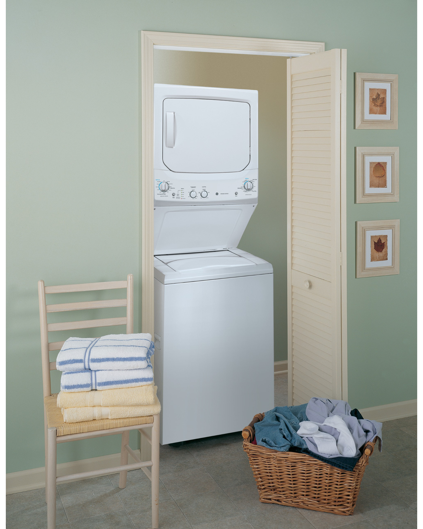 """GE Appliances GUD27ESSJWW Spacemaker® 27"""" 3.2 cu. ft. Electric Stacked Laundry Unit - White"""