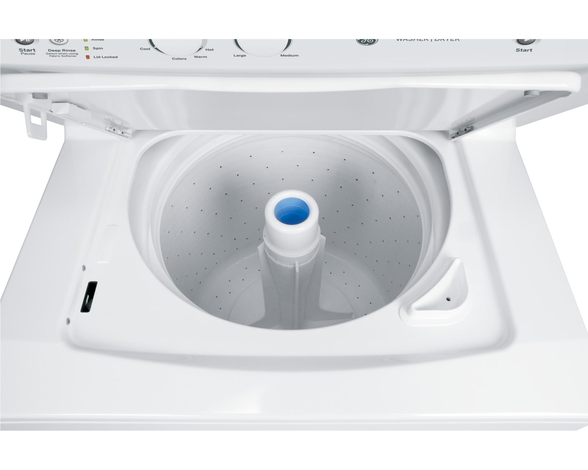 "GE Appliances GUD27GSSJWW Spacemaker® 27"" 3.2 cu. ft. Gas Stacked Laundry Unit - White"