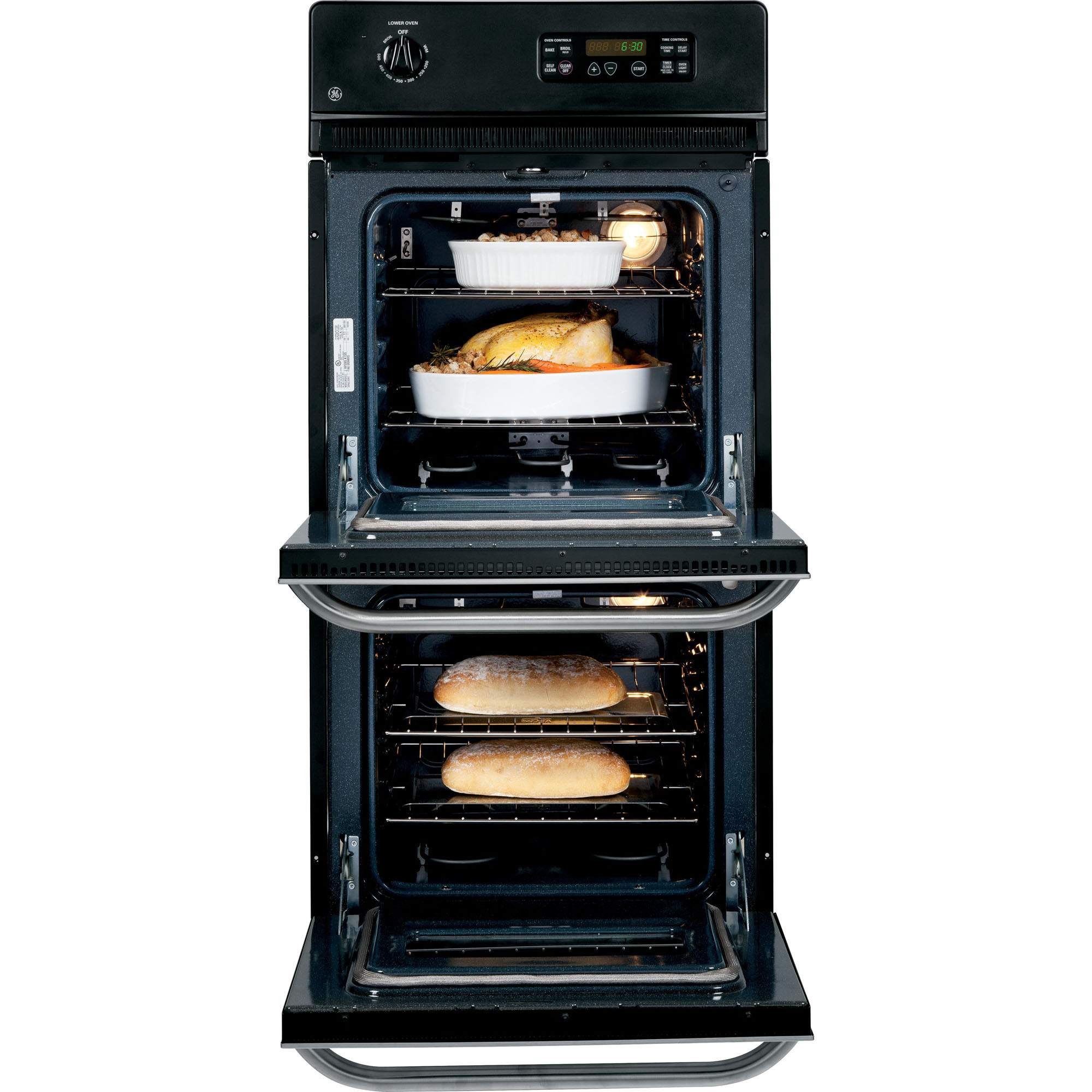 "GE Appliances JRP28SKSS 24"" Double Wall Oven w/ Self Clean Upper Oven"