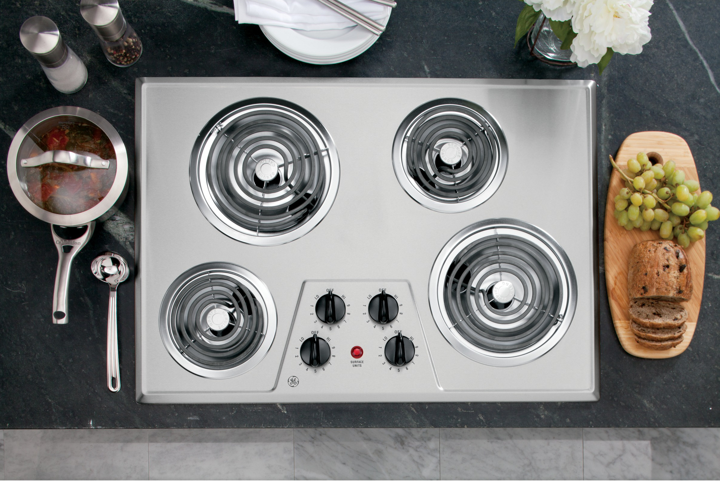 "GE Appliances JP328SKSS 30"" Built-In Electric Cooktop"