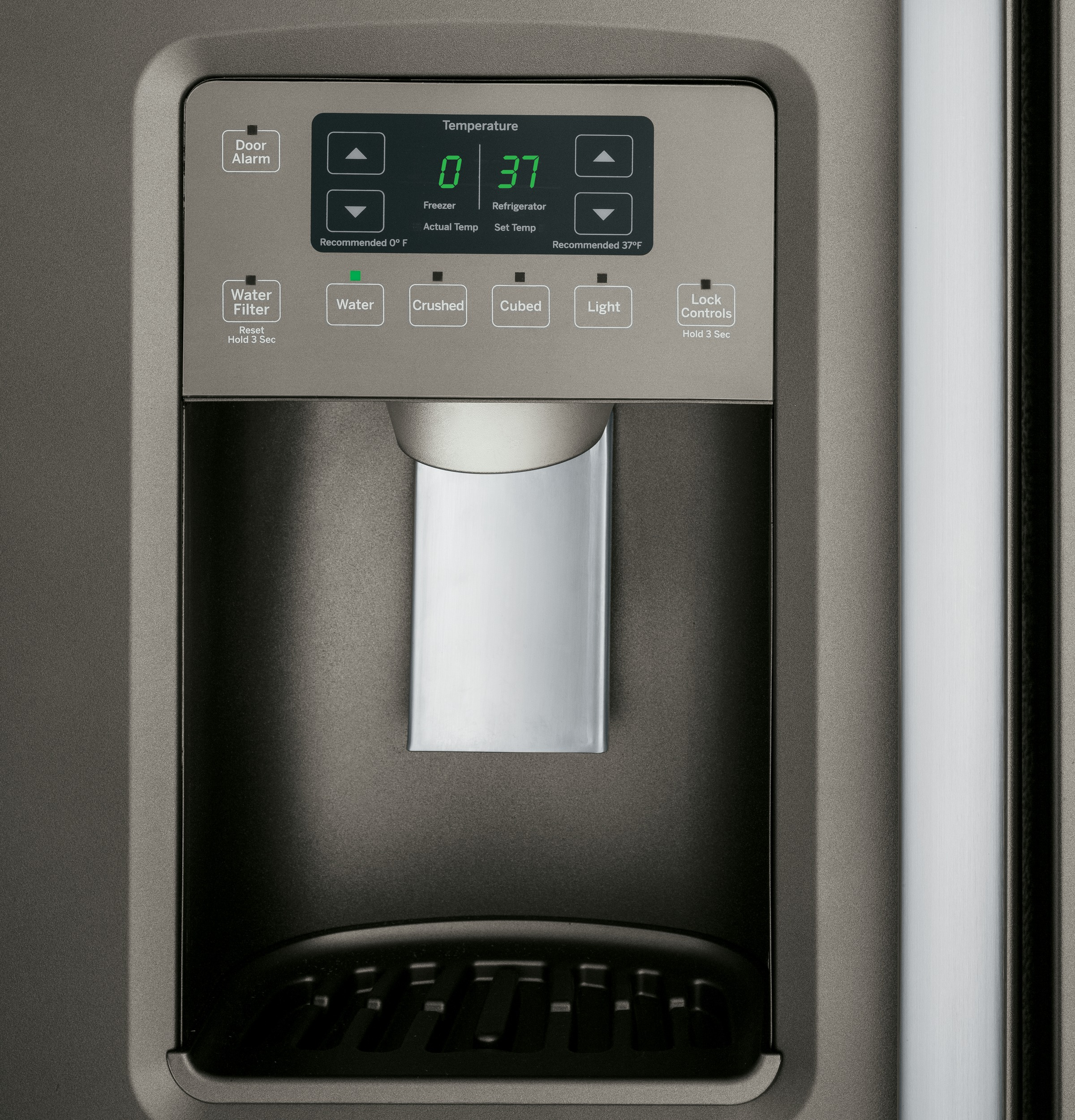 GE Appliances GSE25HMHES 25.4 cu. ft. Side-By-Side Refrigerator - Slate