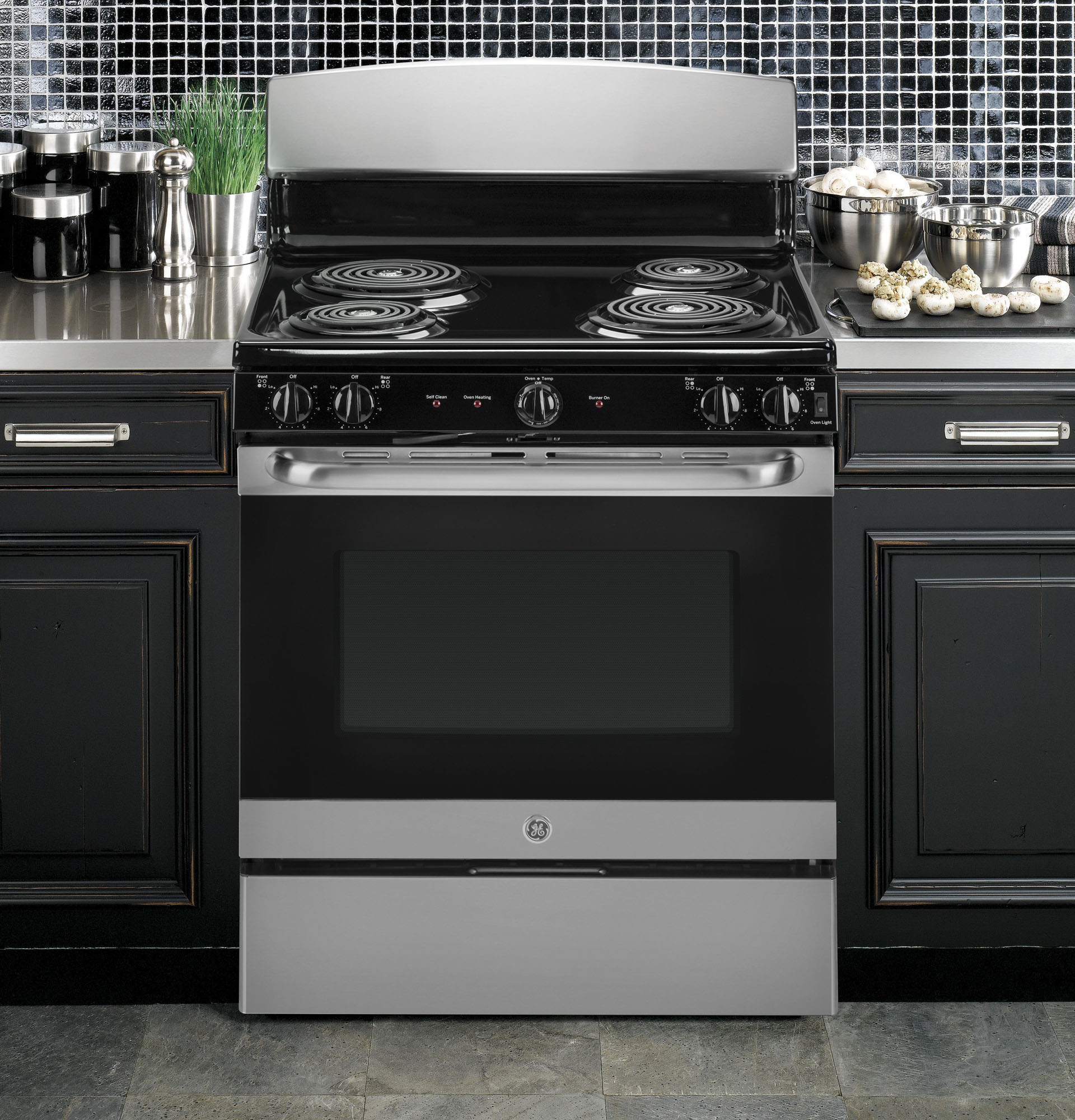 "GE Appliances JB450RKSS 30"" Freestanding Electric Range w/Front Controls - Stainless Steel"