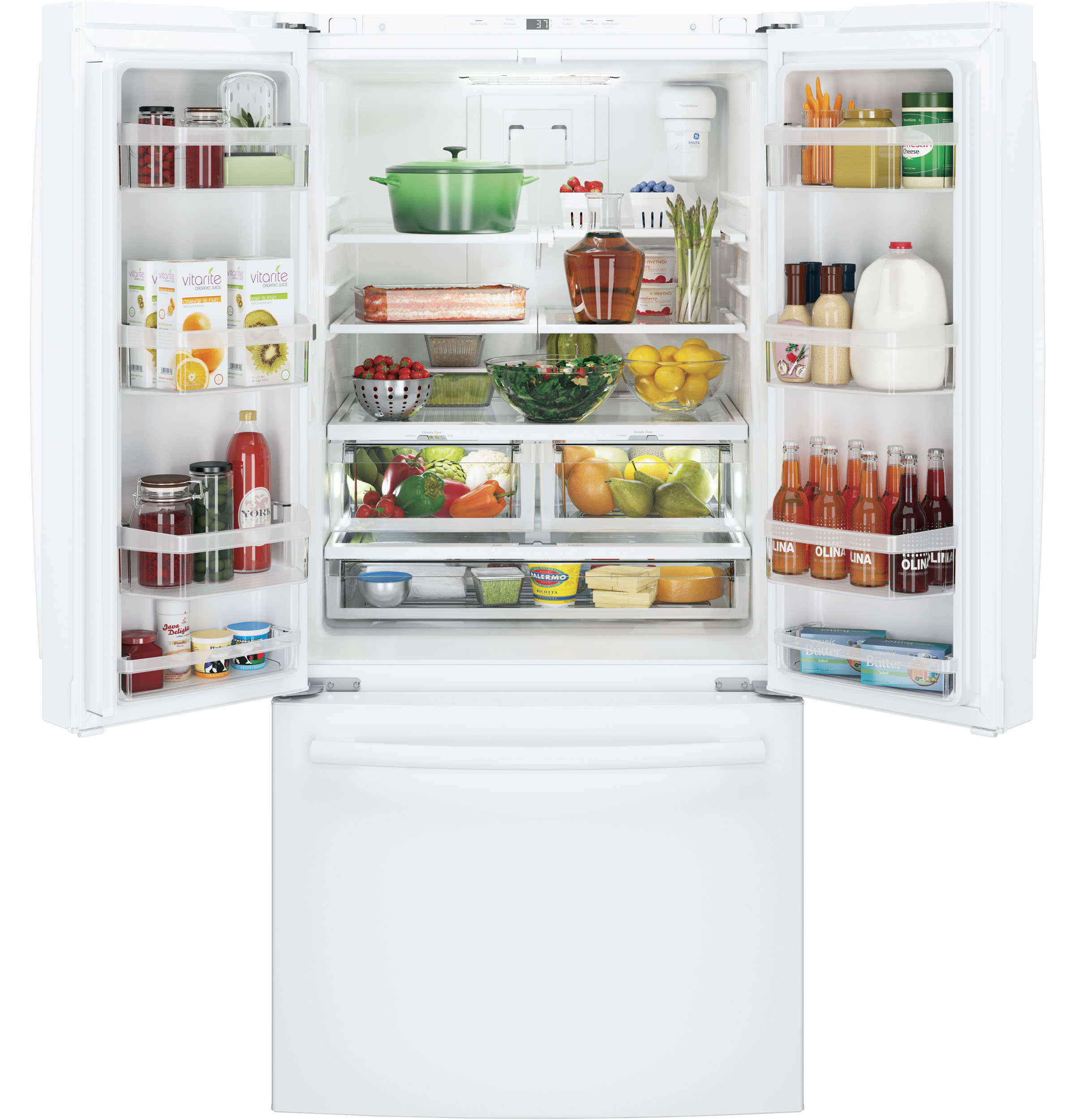 GE Appliances GNE25JGKWW 24.8 cu. ft. French Door Refrigerator - White