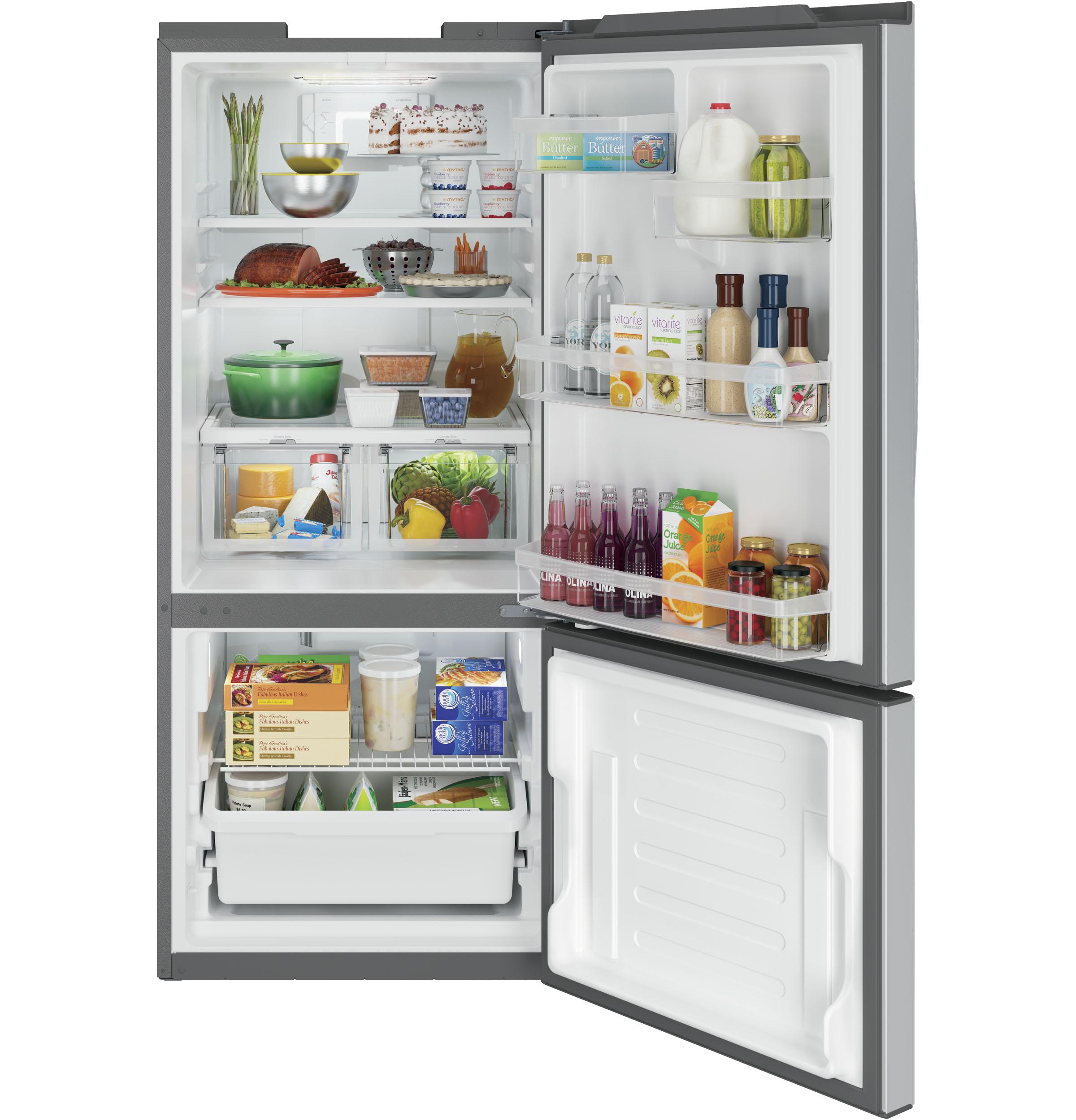 GE Appliances GBE21DSKSS 20.9 cu. ft. Single Door Bottom Freezer Refrigerator - Stainless Steel