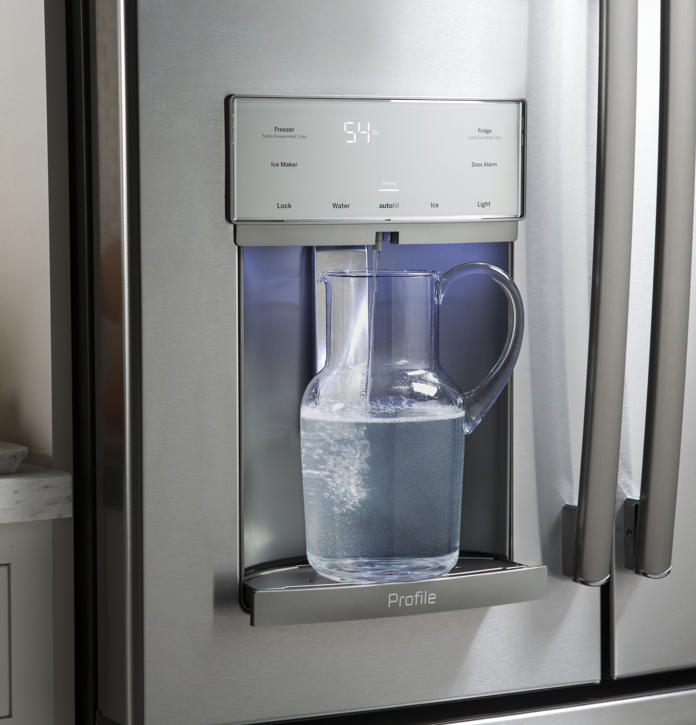 GE Profile™ Series PYE22KSKSS 22.2 cu. ft. Counter Depth French Door Refrigerator - Stainless Steel