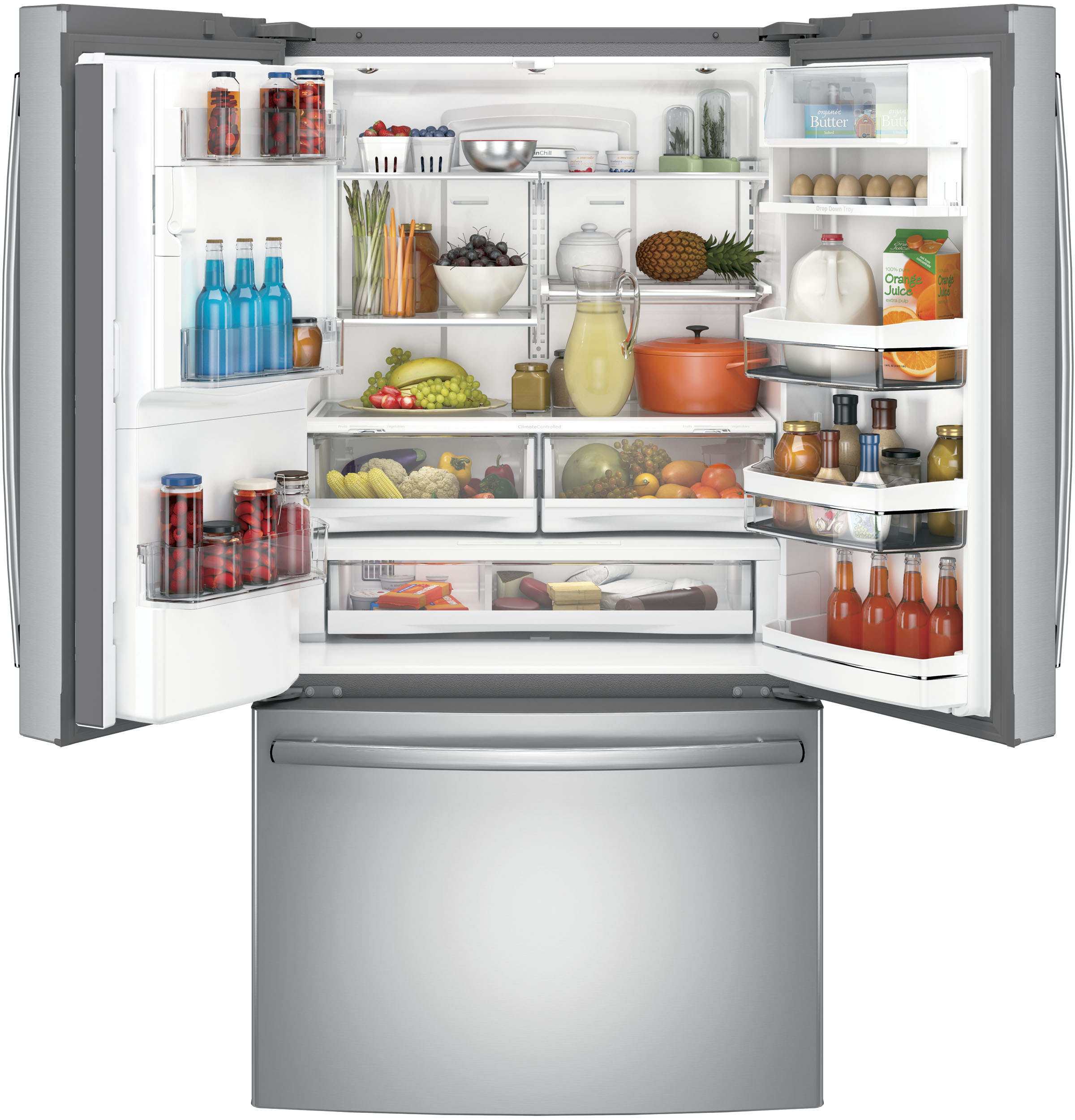 GE Profile™ Series PYE22PSKSS 22.2 cu. ft. Counter Depth French Door Refrigerator w/ Keurig® K-Cup® Brewing System - Stainless Steel