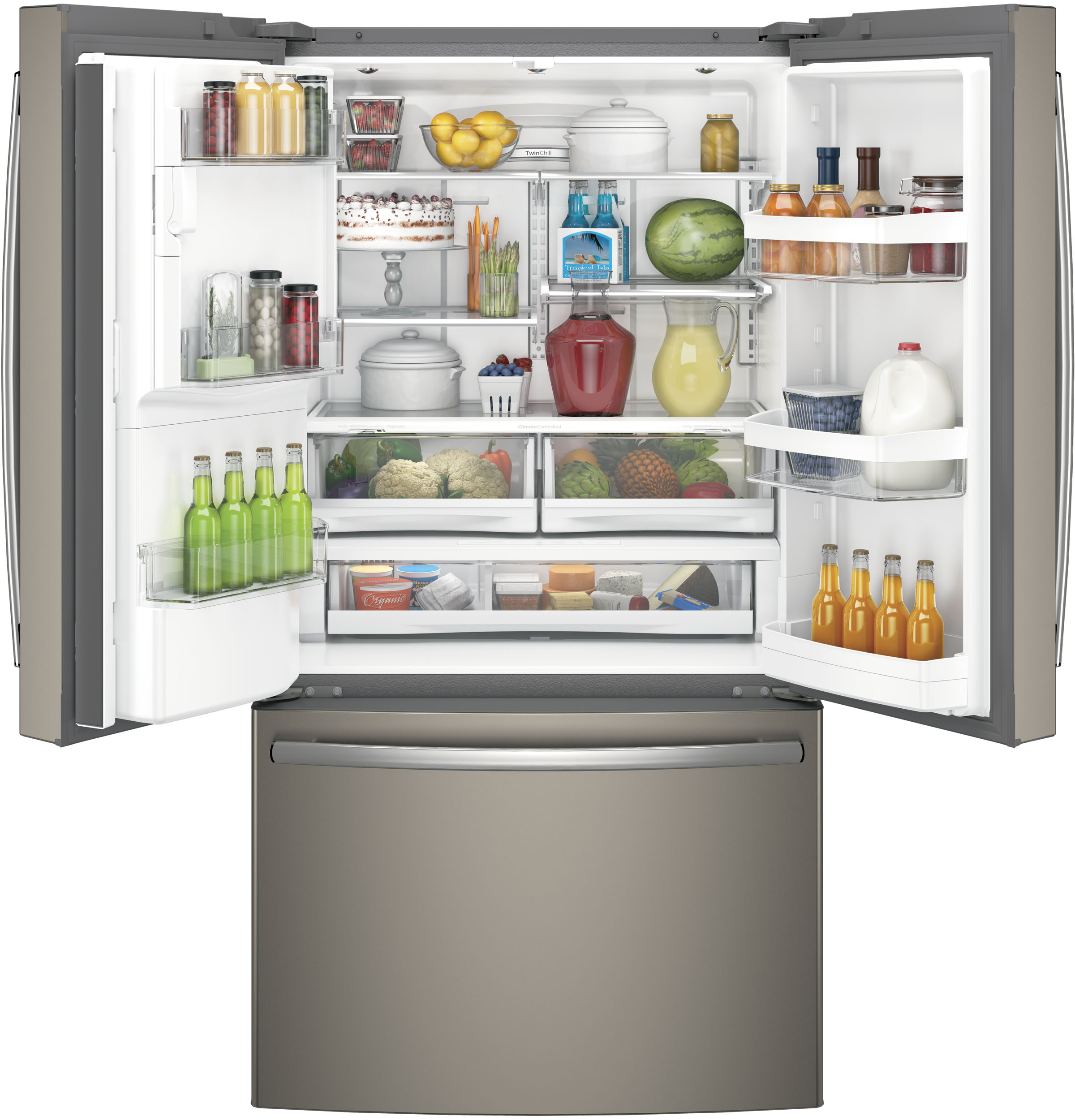 GE Appliances GYE22HMKES 22.2 cu. ft. Counter Depth French Door Refrigerator - Slate