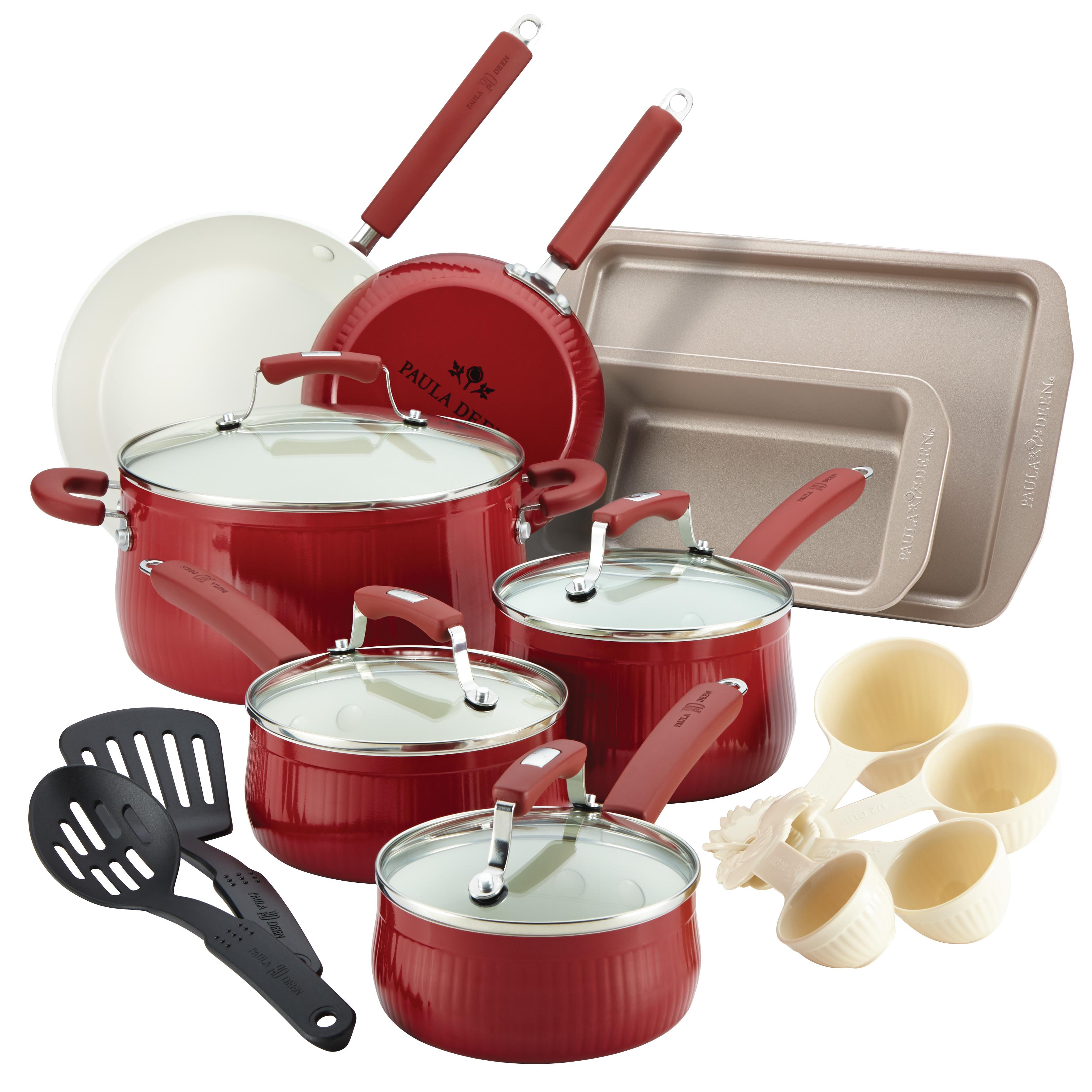 Paula Deen® Savannah 18-Piece Expansion  Aluminum Nonstick Cookware Set, Red