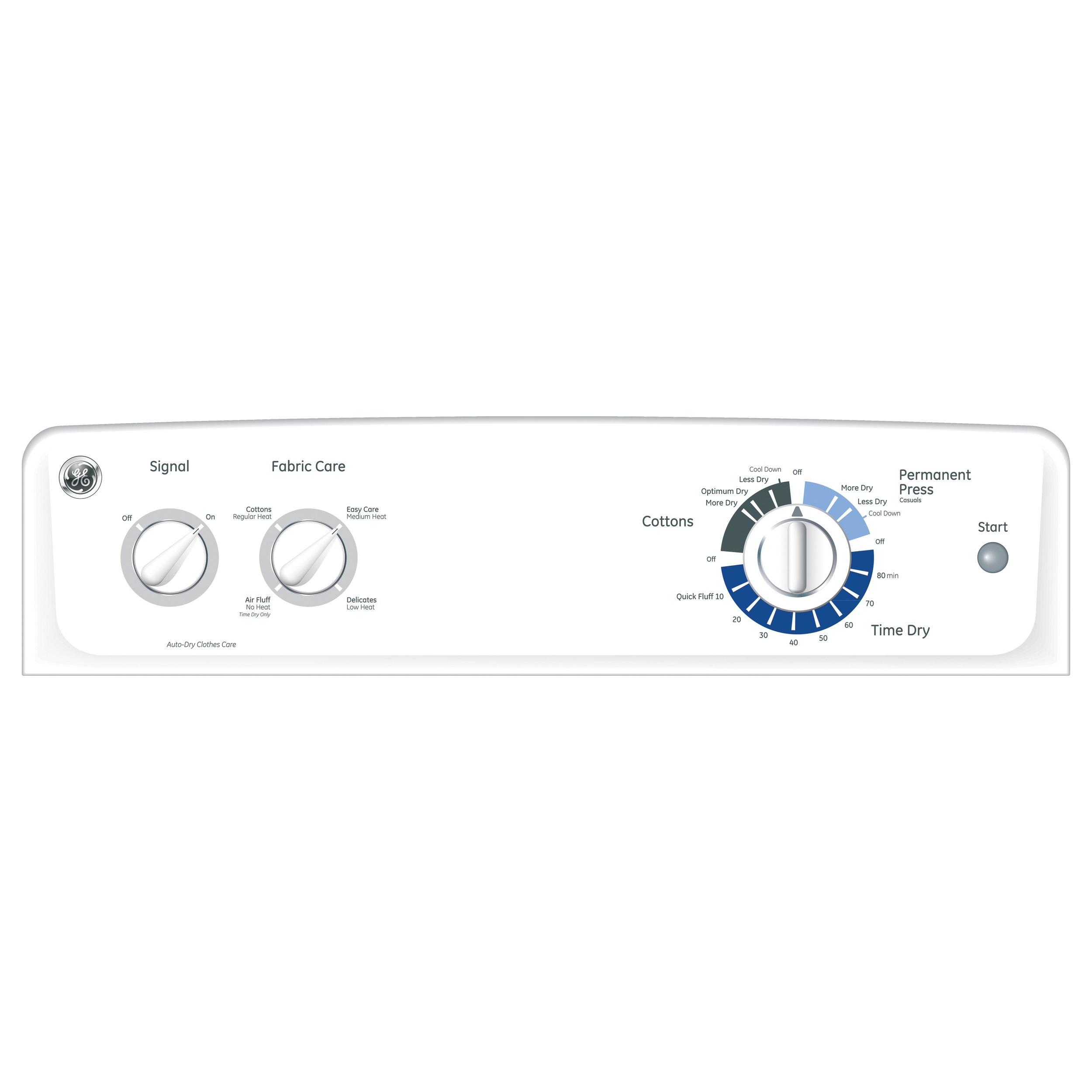 GE Appliances 6.8 Cu. Ft. White Electric Dryer